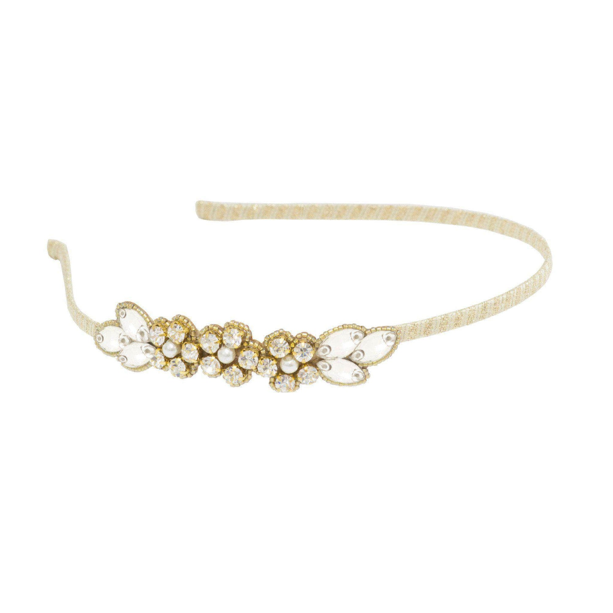 Wedding Headband Gold crystal wedding headband- leaf and floral arrangement 'Livia'