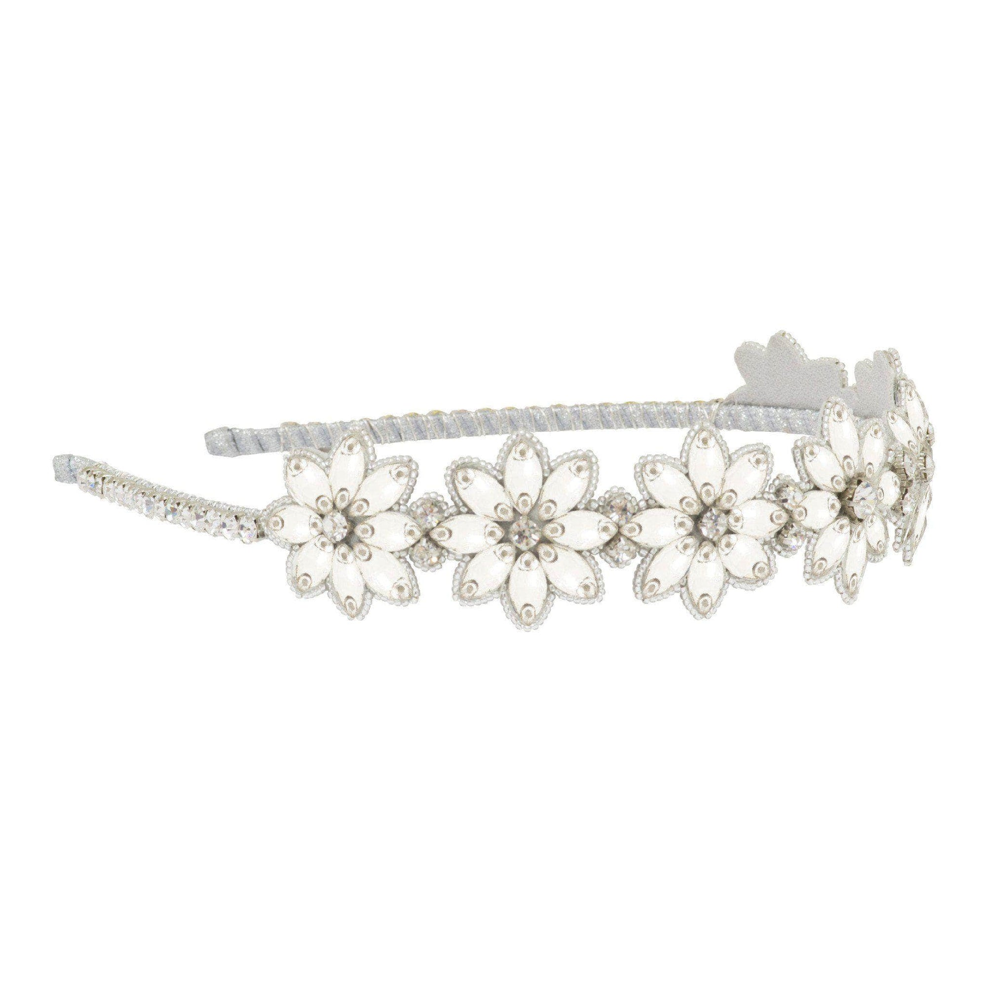 Wedding Headband Silver Statement crystal flower wedding headband silver- 'Darcy'