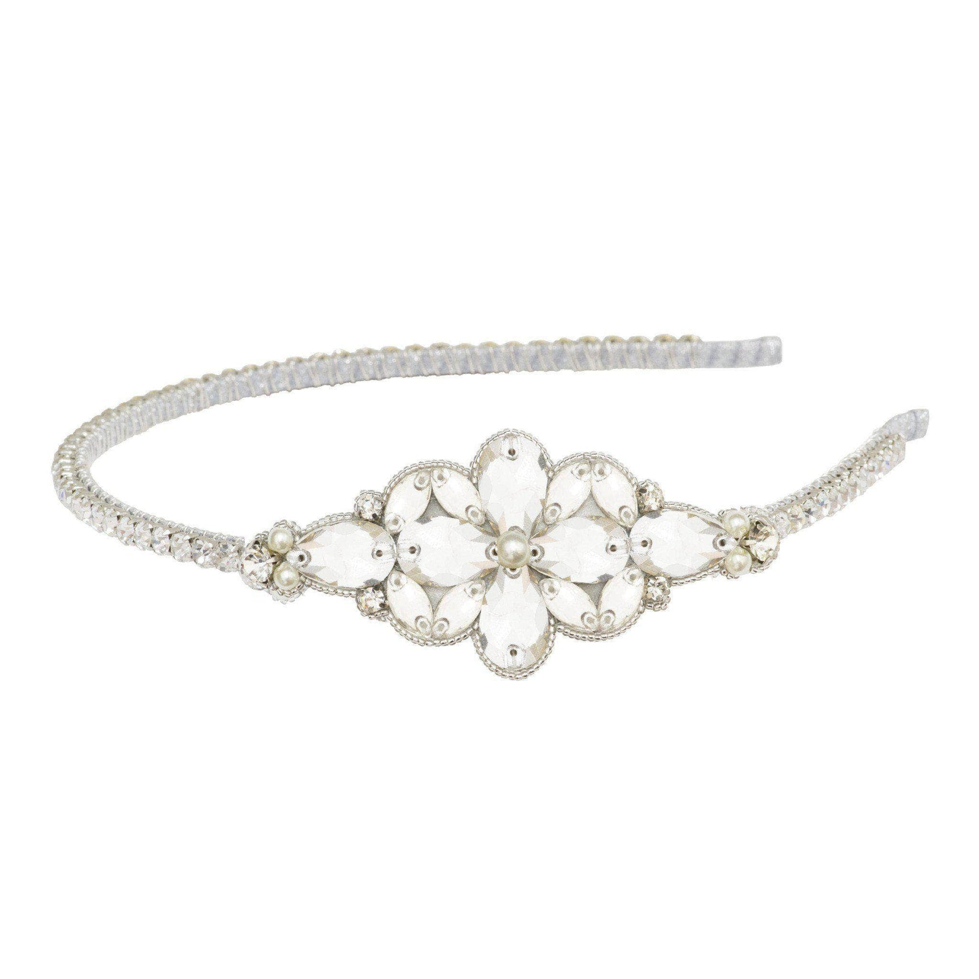Wedding Headband Silver / Silver sparkle (as in images) Statement silver wedding headband with crystals and pearls - 'Tulla'