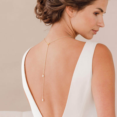 Gold pearl back drop necklace lariat for wedding - 'Charlotte'