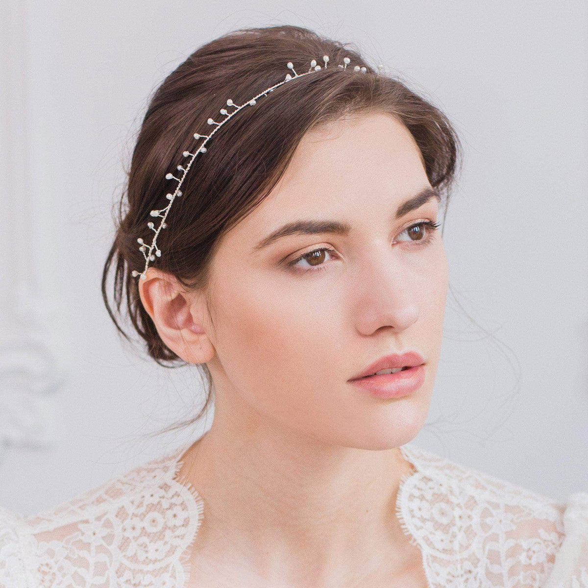 Wedding Hairvine Silver Pearl wedding hair vine - 'Cerse'