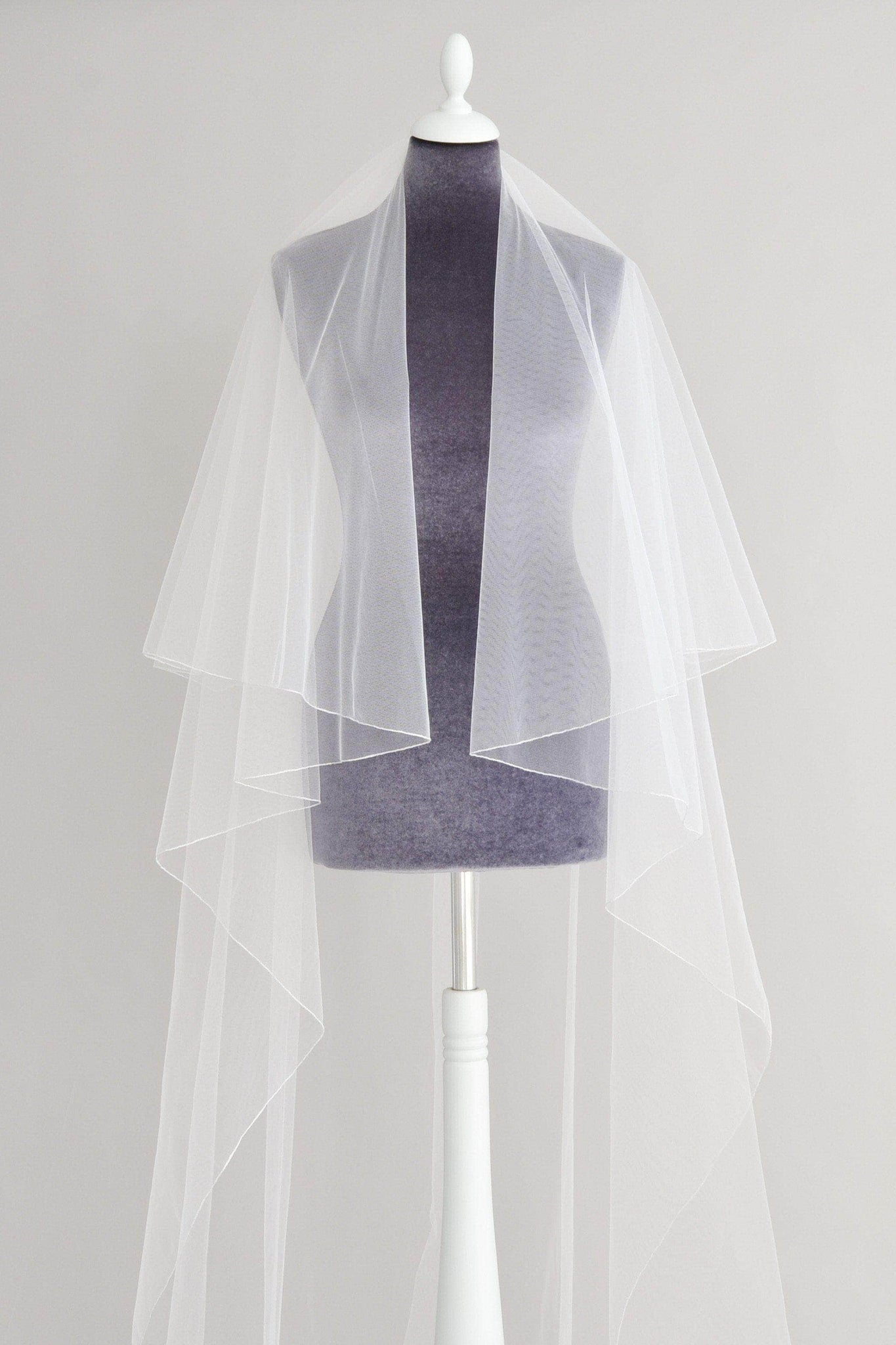 pencil edge two tier wedding veil