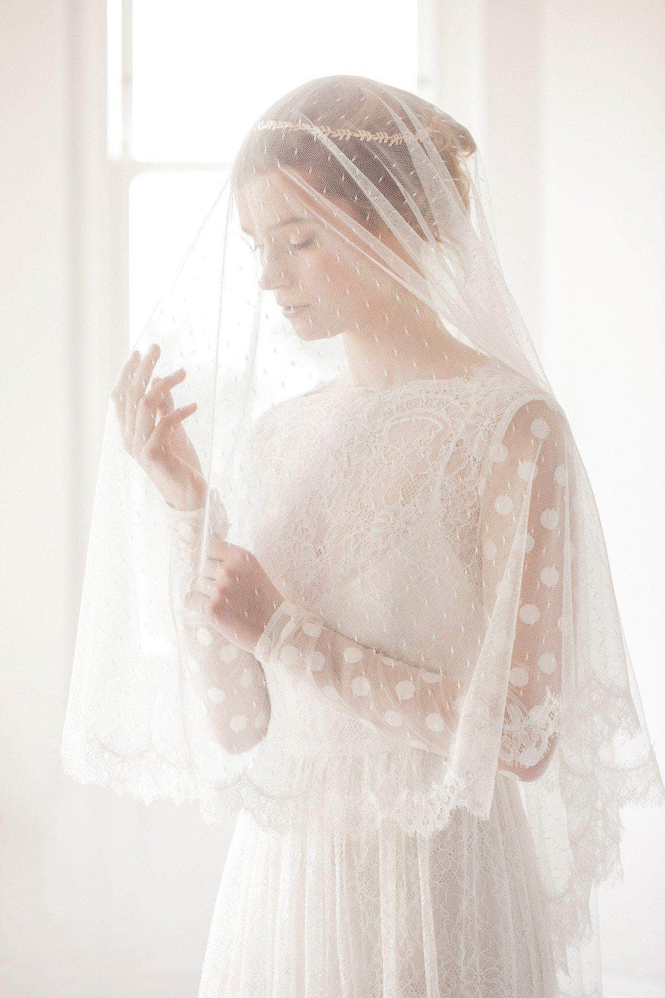 polka dot drop veil with french eyelash lace edge