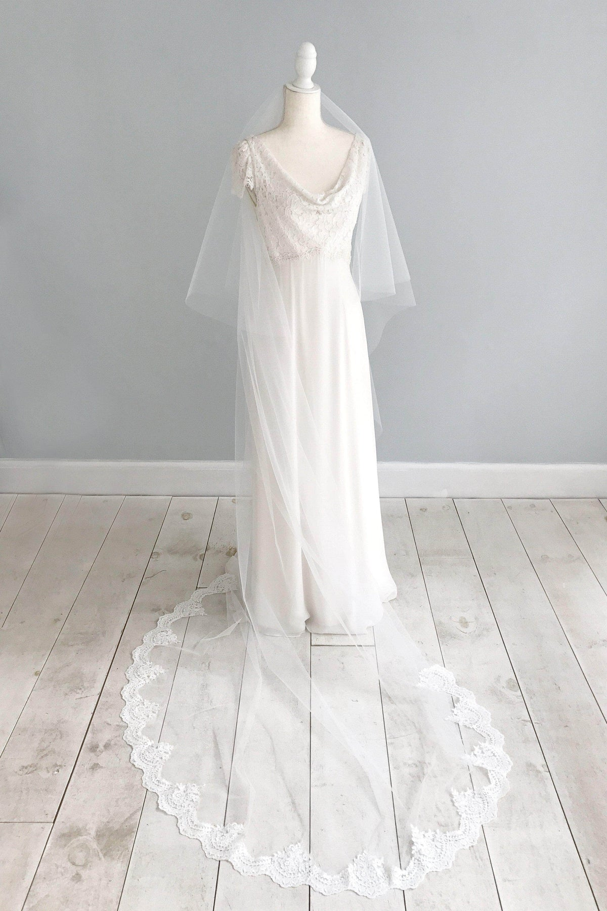 Two tier semi lace edged ivory wedding veil - 'Prudence'