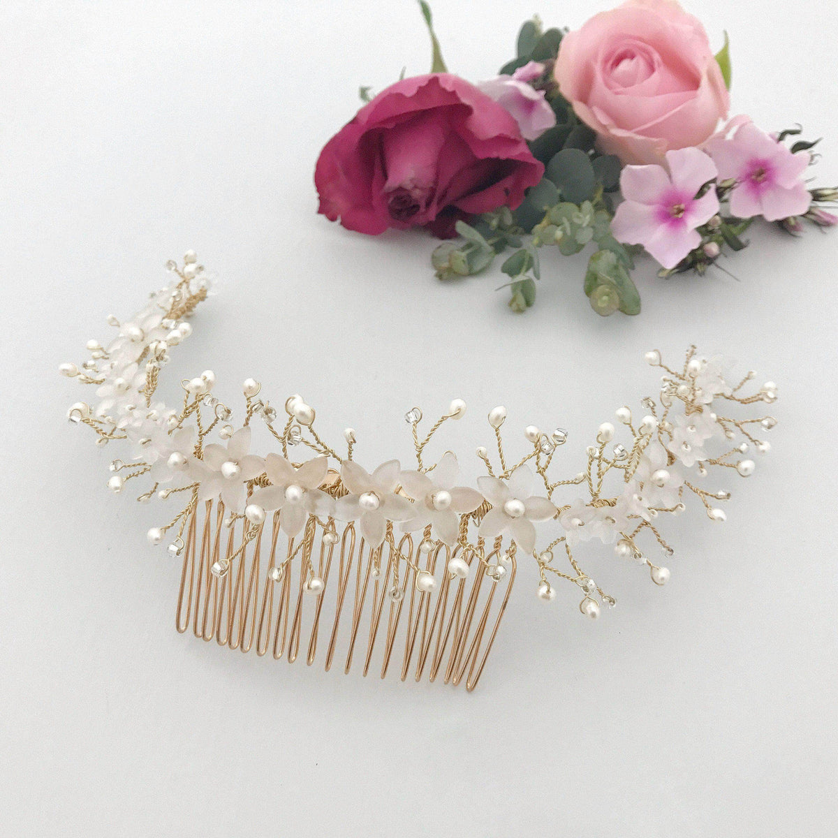 Wedding Haircomb Gold Gold flower and pearl wedding hair comb - 'Riley'