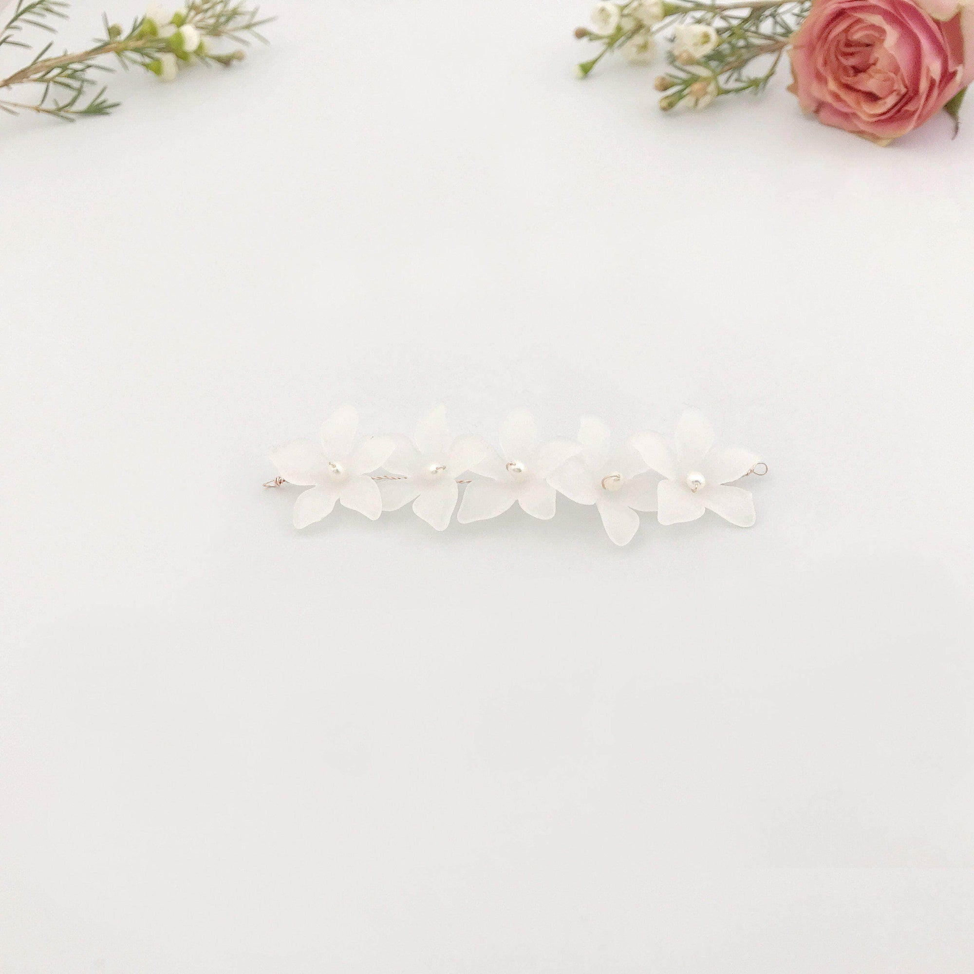 Wedding Hairvine Rose gold floral pearl hair centrepiece - 'Elsa'