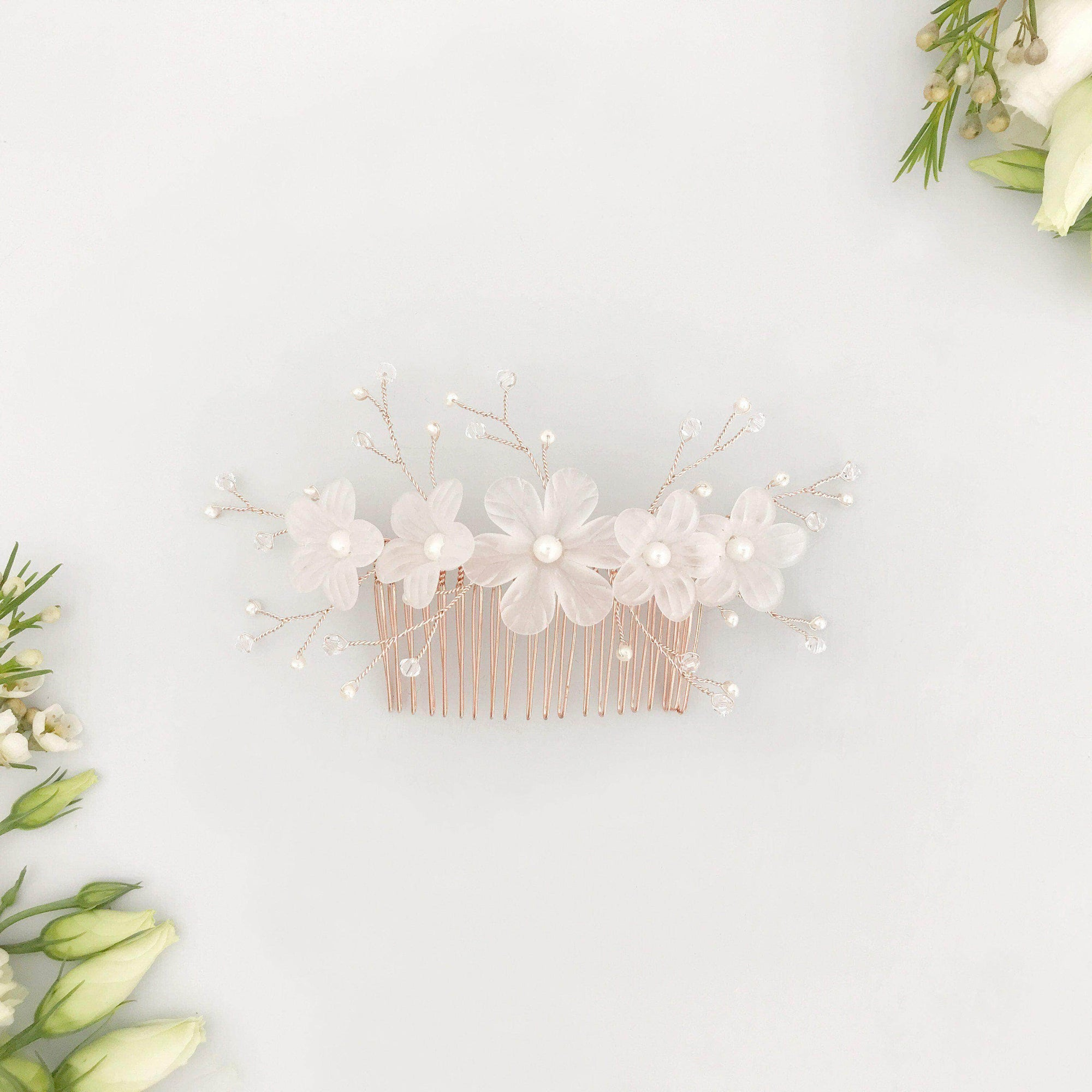 Wedding Hairvine Rose gold pearl centrepiece - 'Myra'