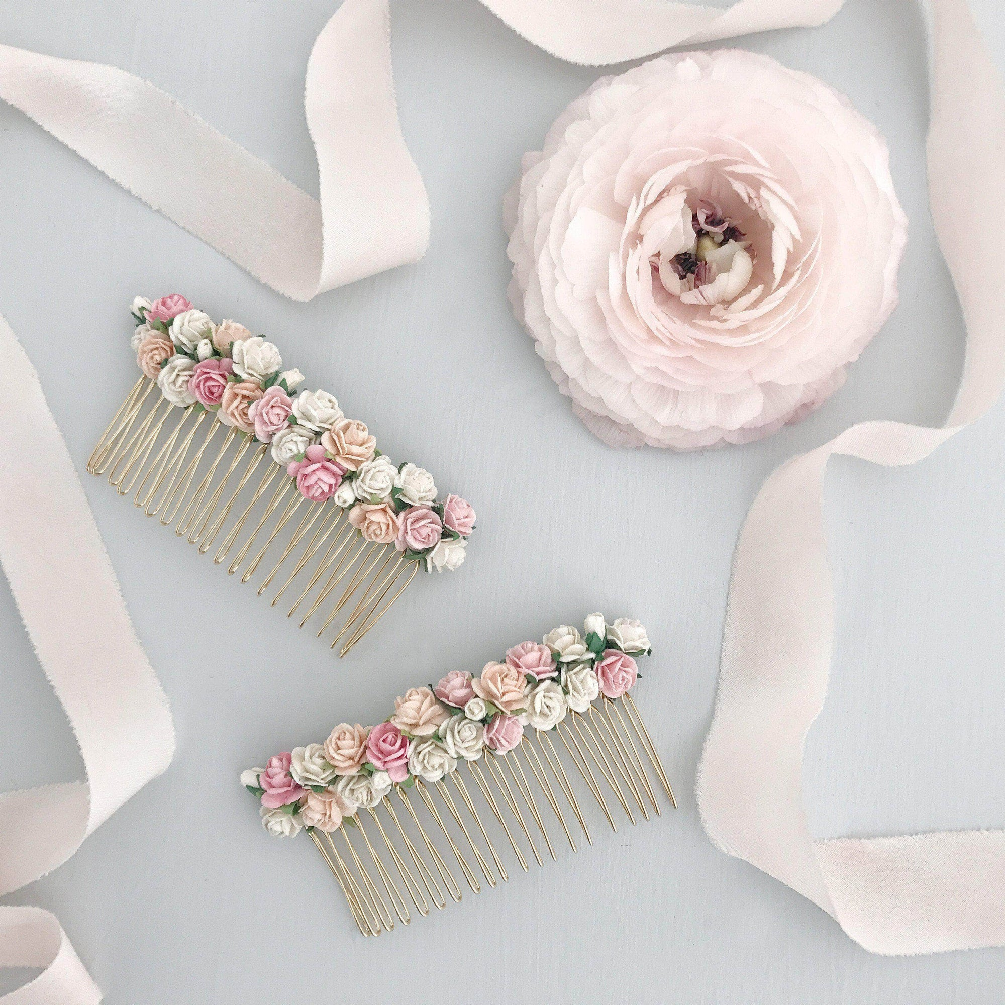 Wedding Haircomb Silver Flower wedding hair comb - 'Rose'