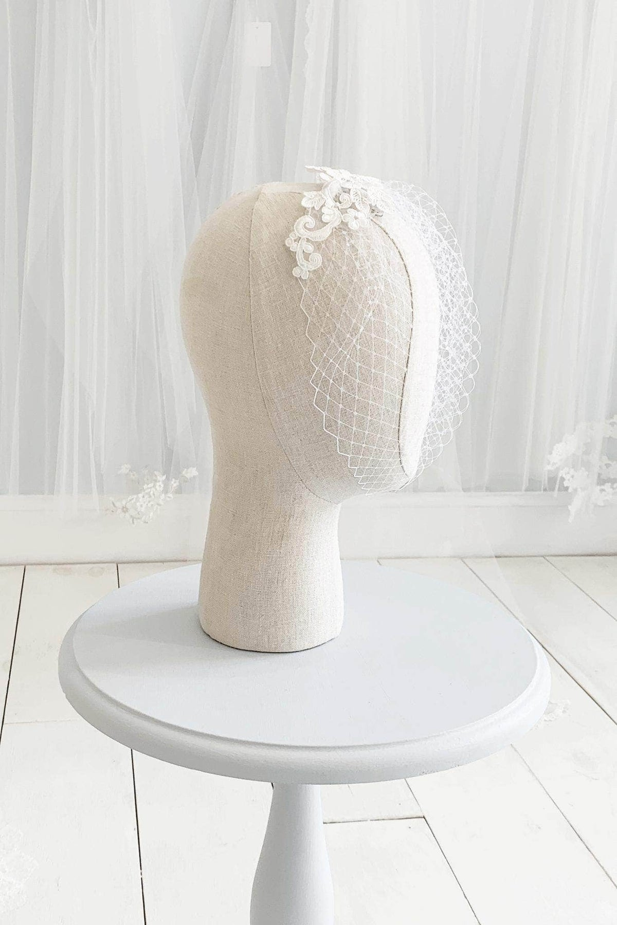 Wedding Veil Embellished birdcage wedding veil of Russian net - 'Cecilia'