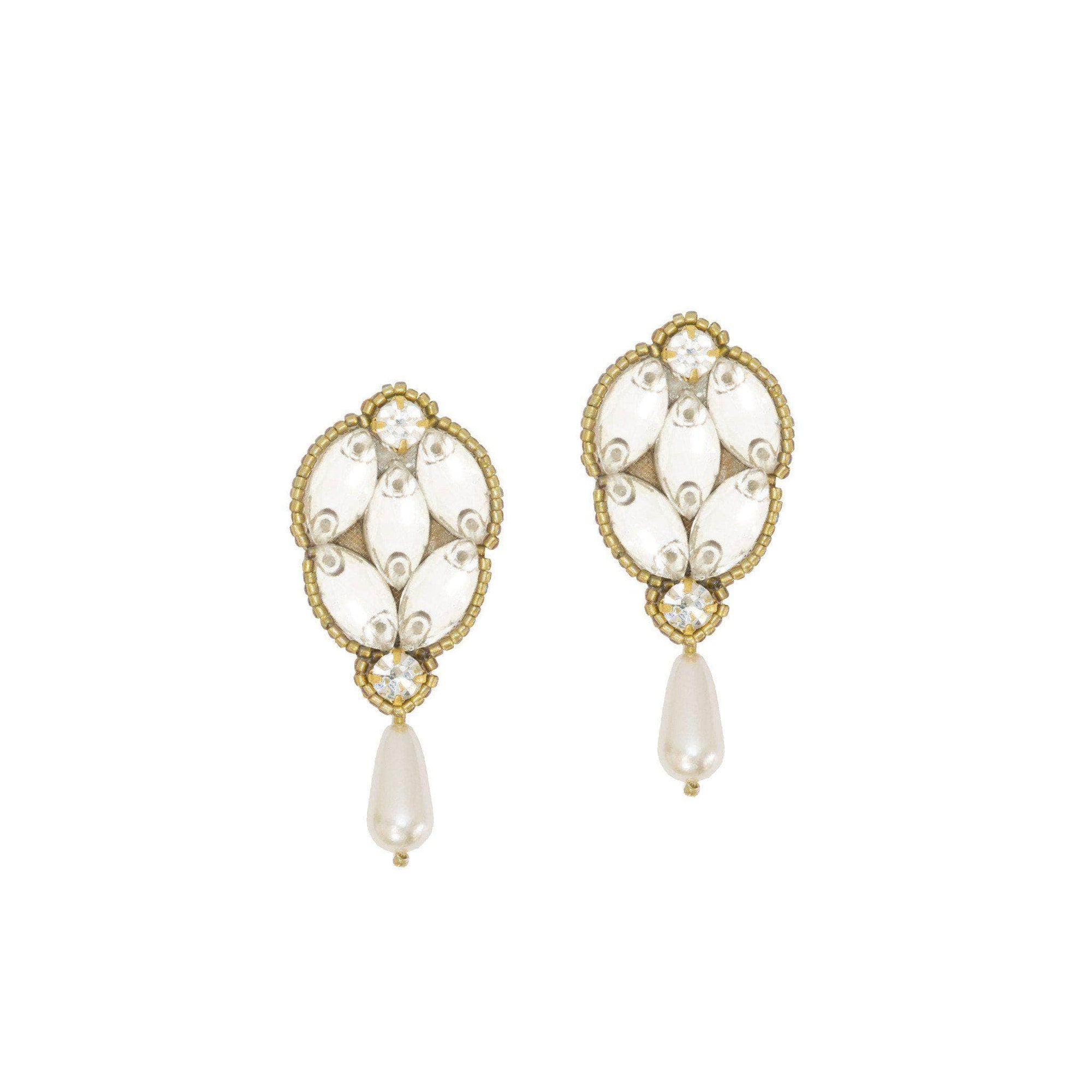 Wedding Earring Gold Gold crystal and pearl wedding earrings - 'Saffie'