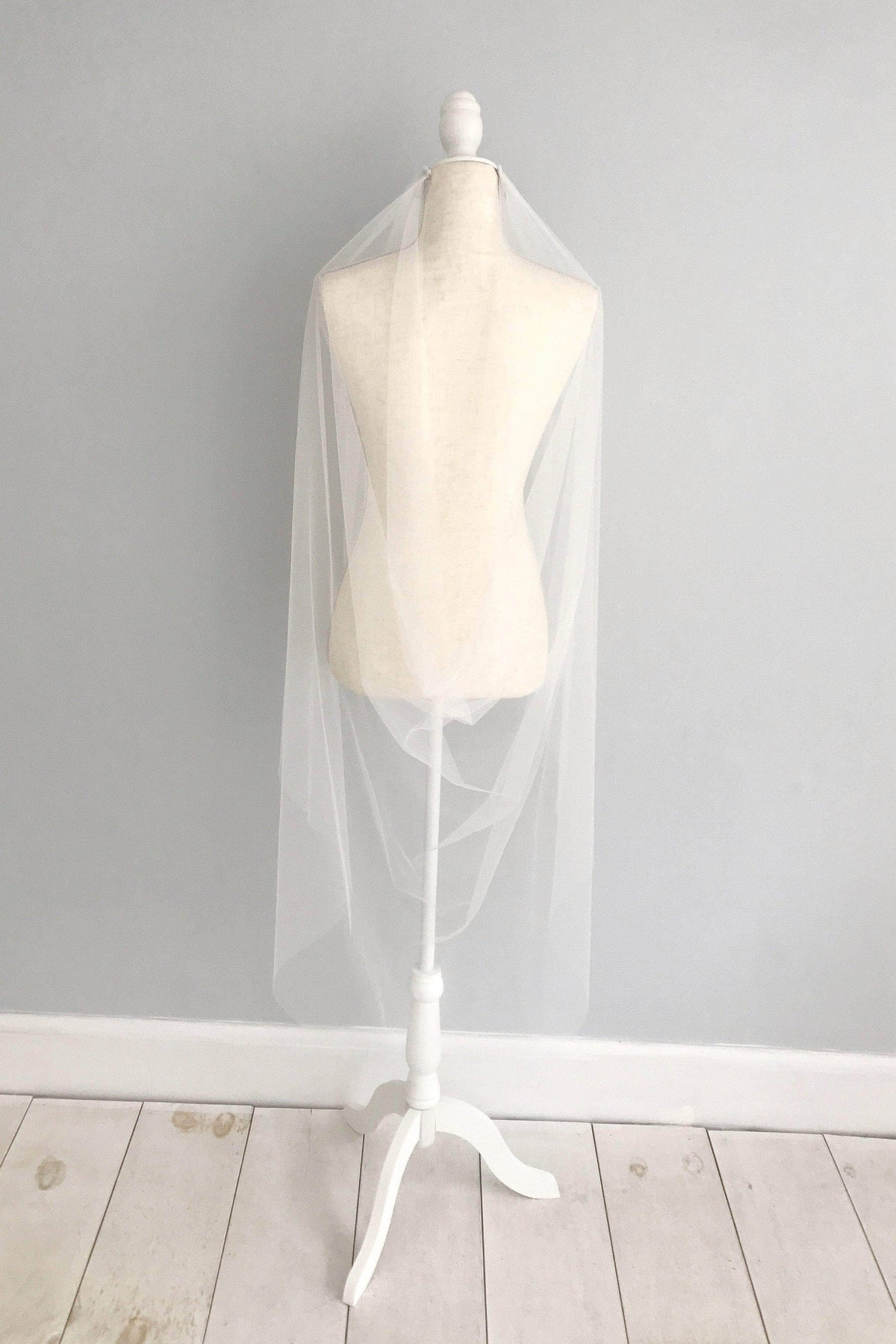 Two comb drape cut edge silk style wedding veil - 'Saffron'