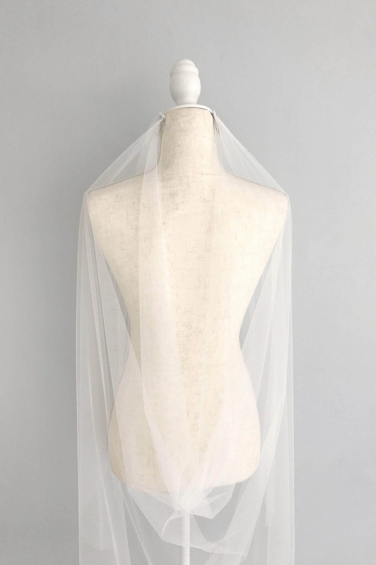 Wedding Veil Two comb drape cut edge silk style wedding veil - 'Saffron'