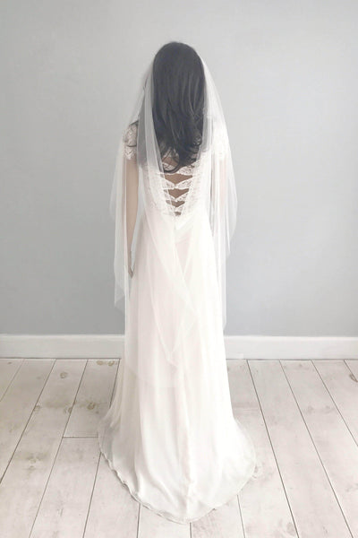 two comb drape wedding veil silk style