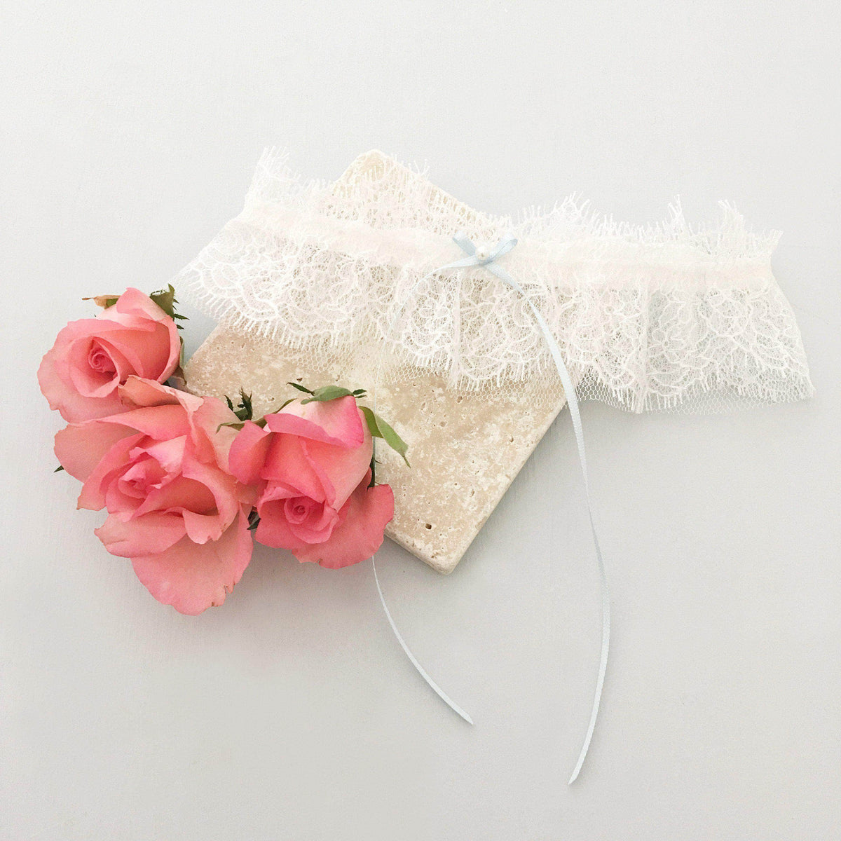 Wedding Garter French eyelash lace wedding garter with something blue bow - 'Sara'