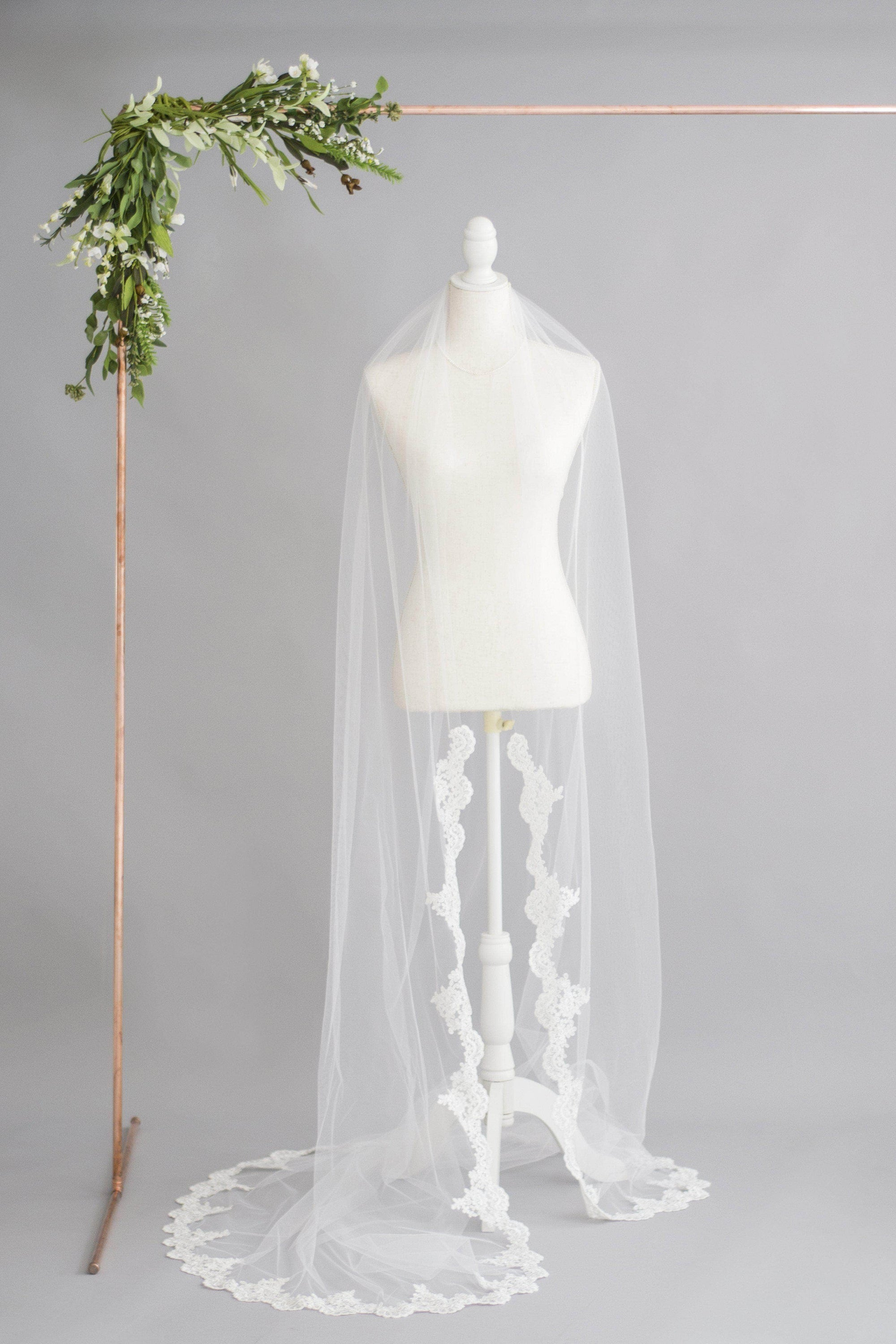 Wedding Veil Semi edged wedding veil with lace starting around wrists - 'Emma'