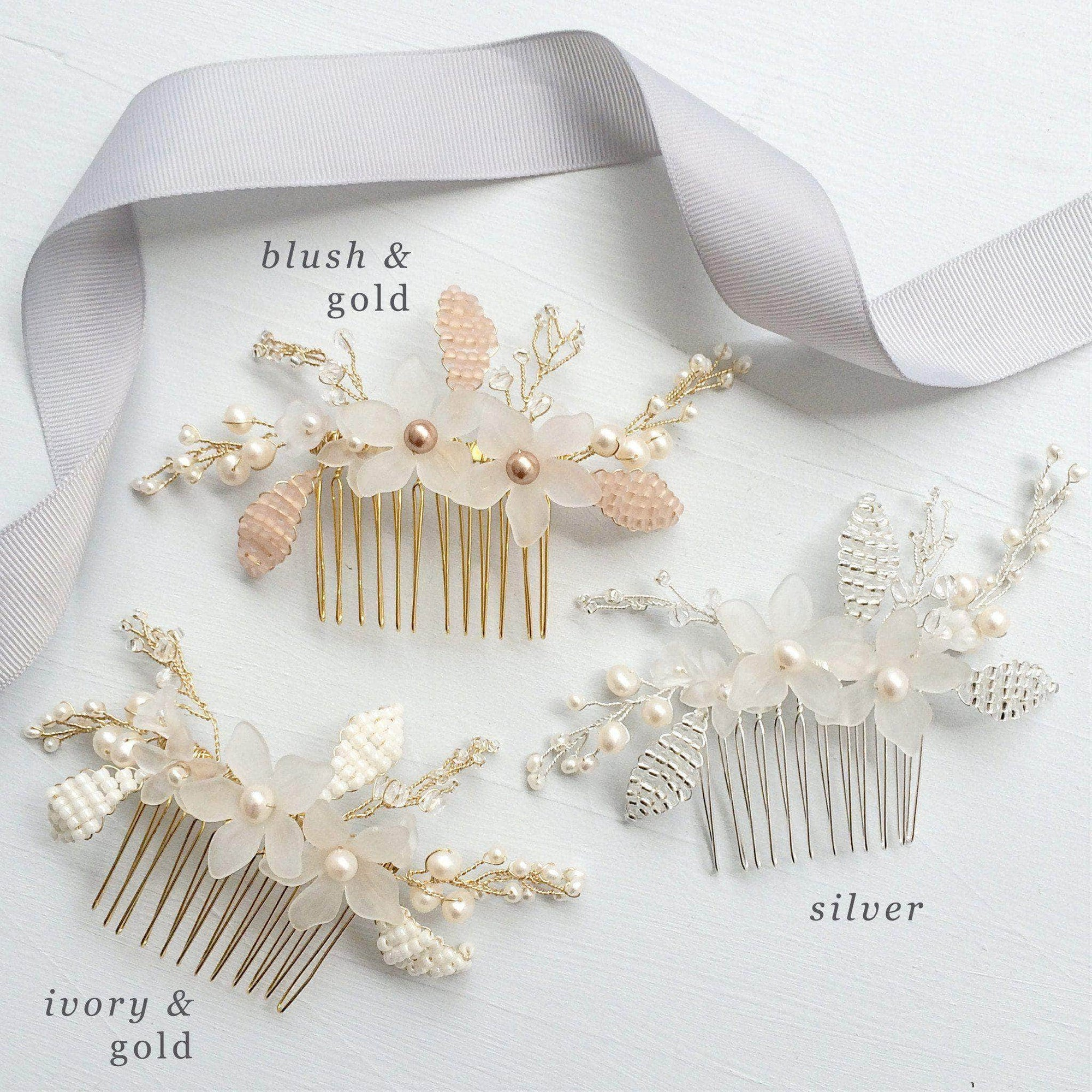 Wedding Haircomb Silver Silver floral wedding hair comb - 'Senna'