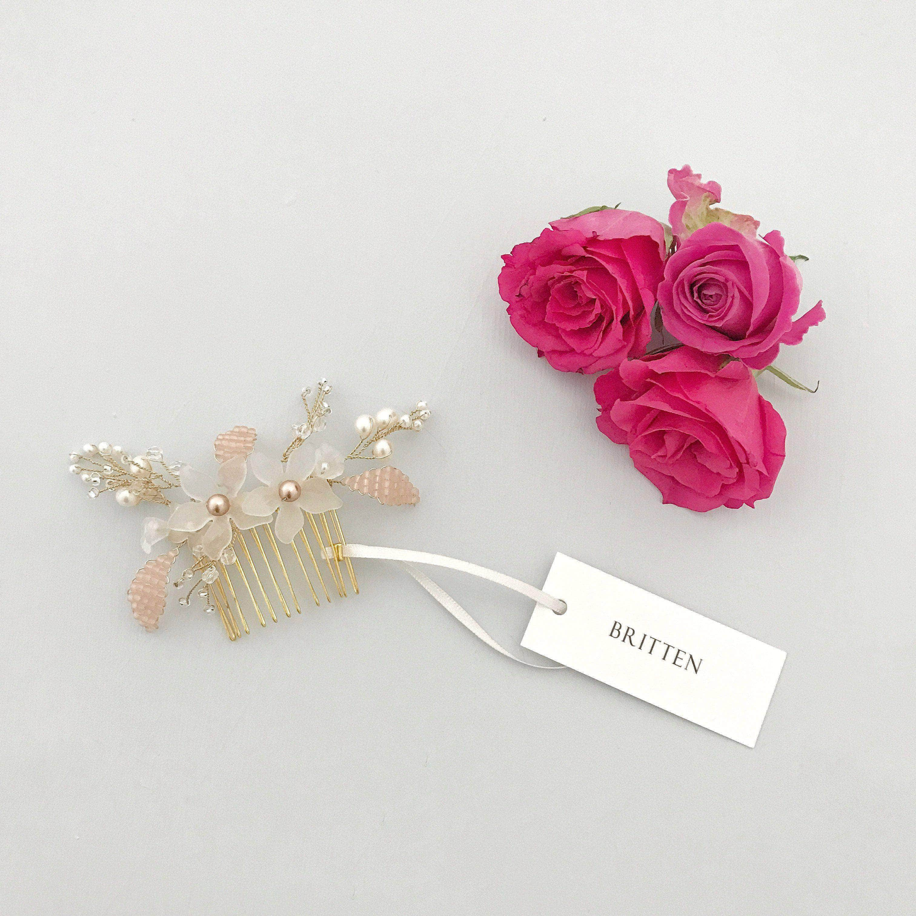Floral Wedding Hair Comb By Britten: Gold And Blush Floral Wedding Hair Comb