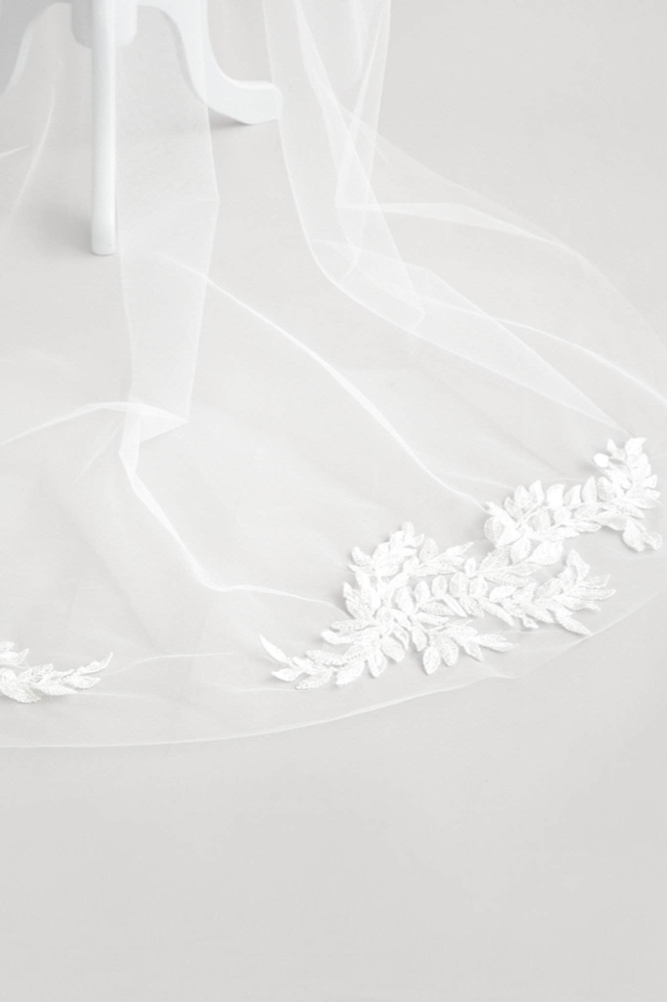 Beaded Leaf Motif Barely There Wedding Veil - 'Elder' - Britten Weddings