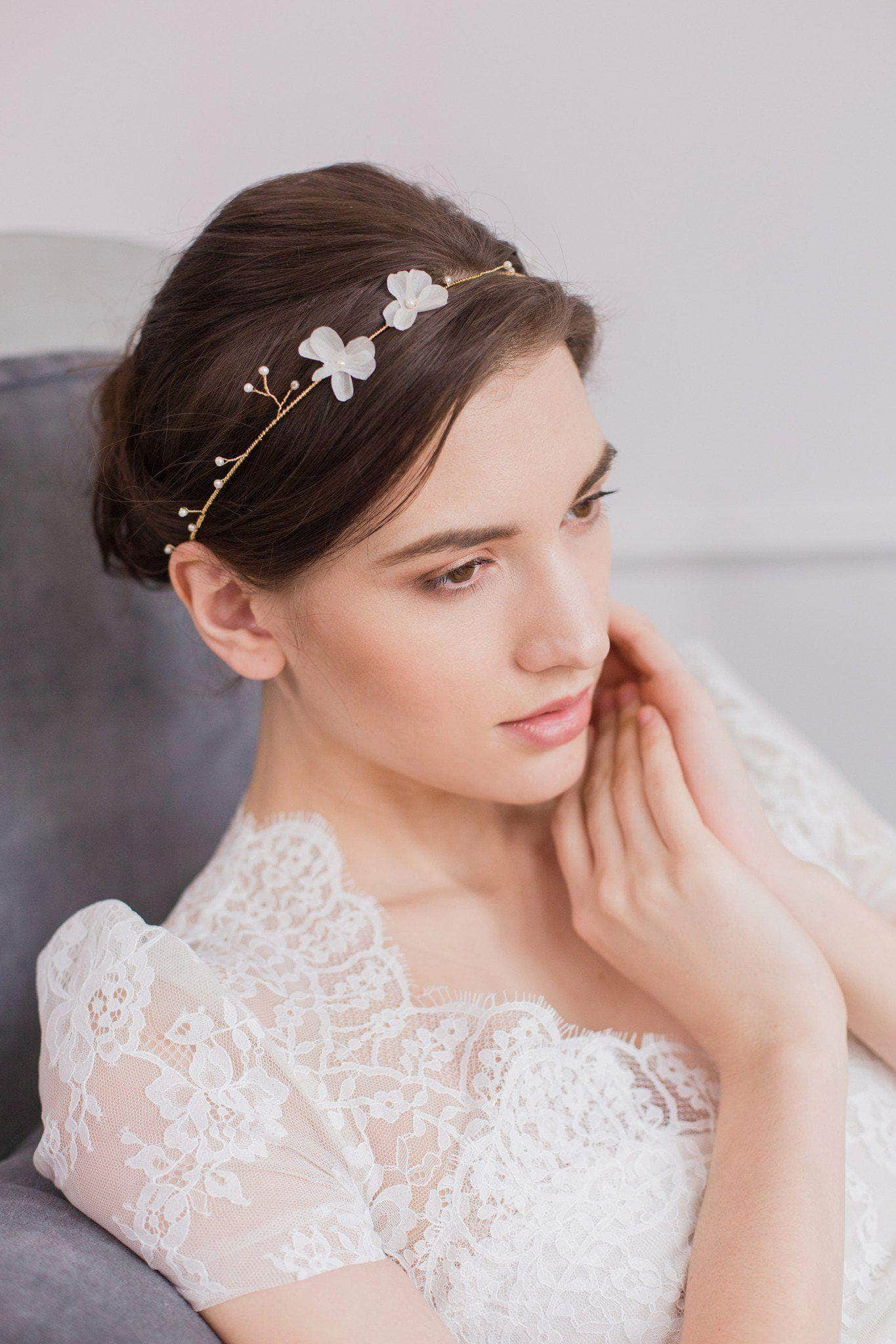 gold wedding hair vine with pearls and silk flowers - 'hareré