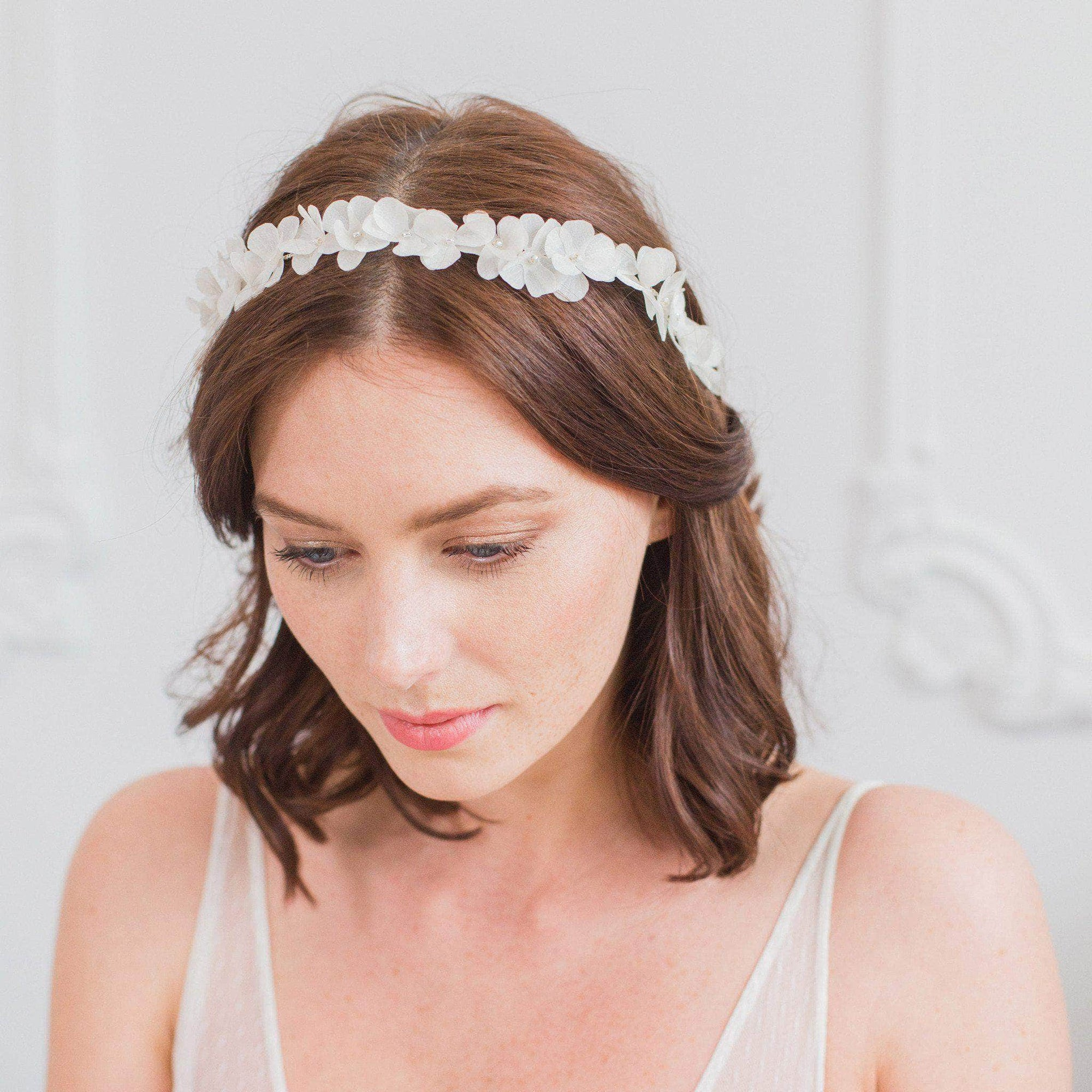 Wedding Headband Off-white Silk flower wedding hair vine - 'Fae'