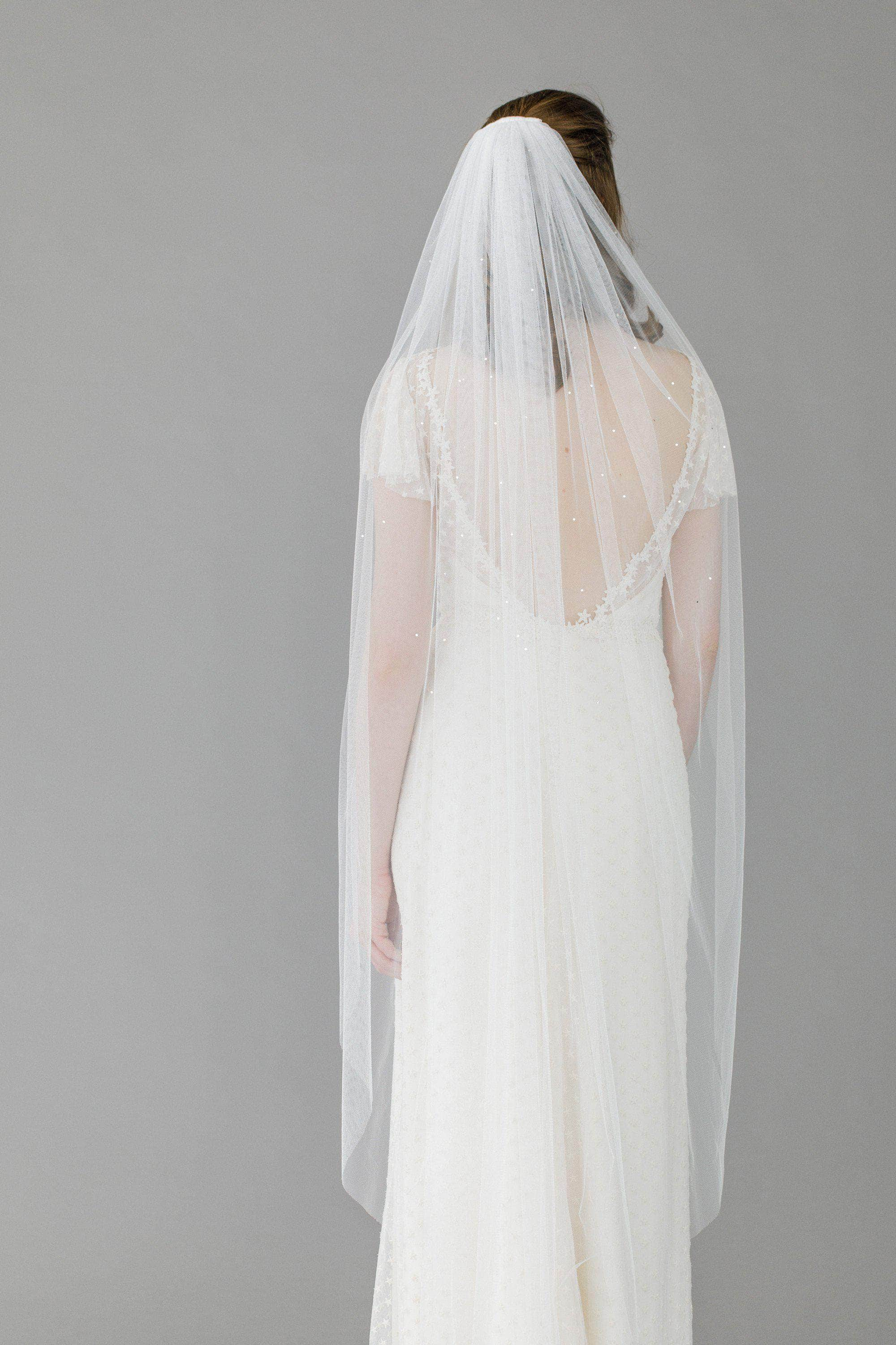 Wedding Veil Silk style wedding veil with crystal scatter- Jessie