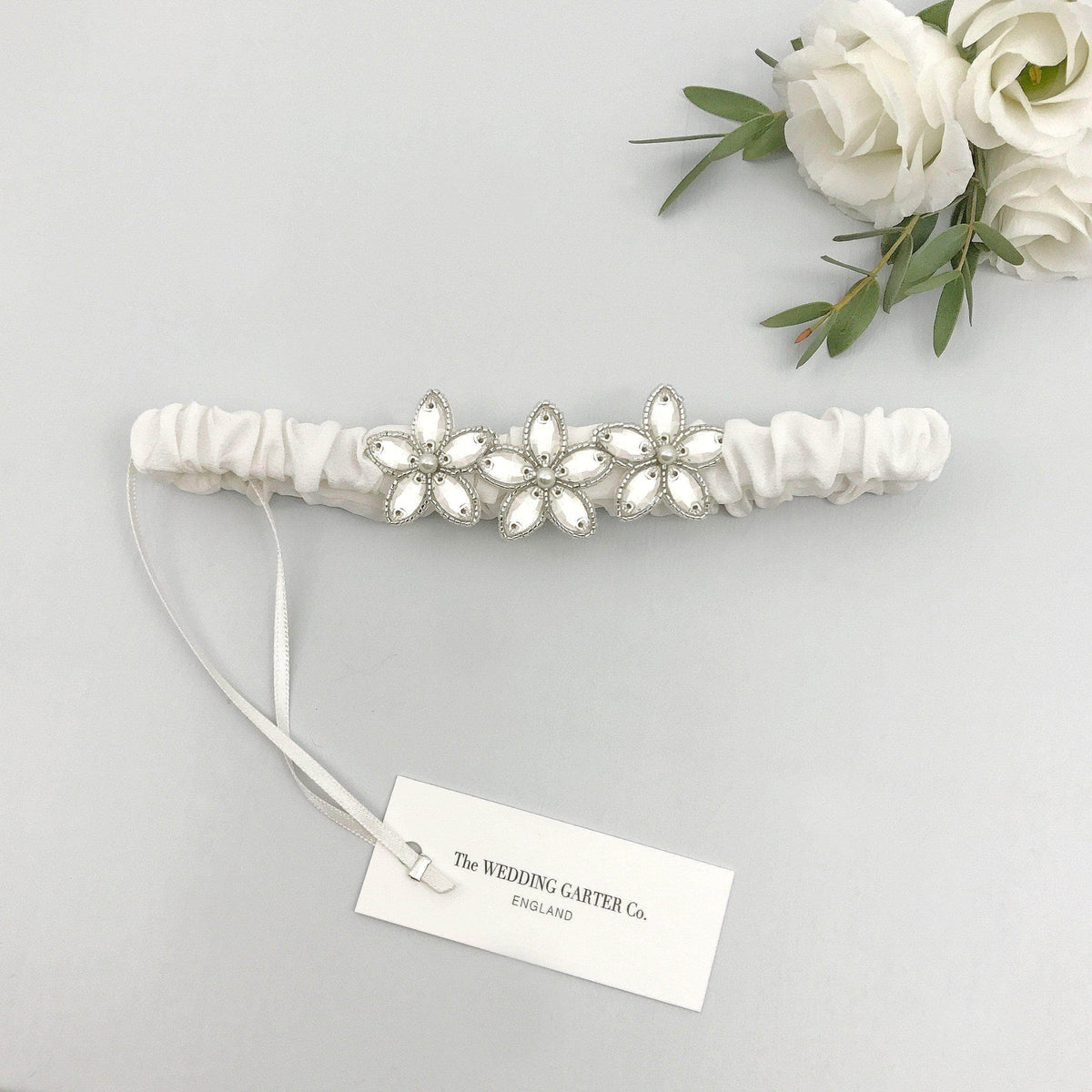 Wedding Garter Ivory / Extra small 35-40cm (13.5-16 inch) Embellished silk wedding garter (various colours) - 'Joi'