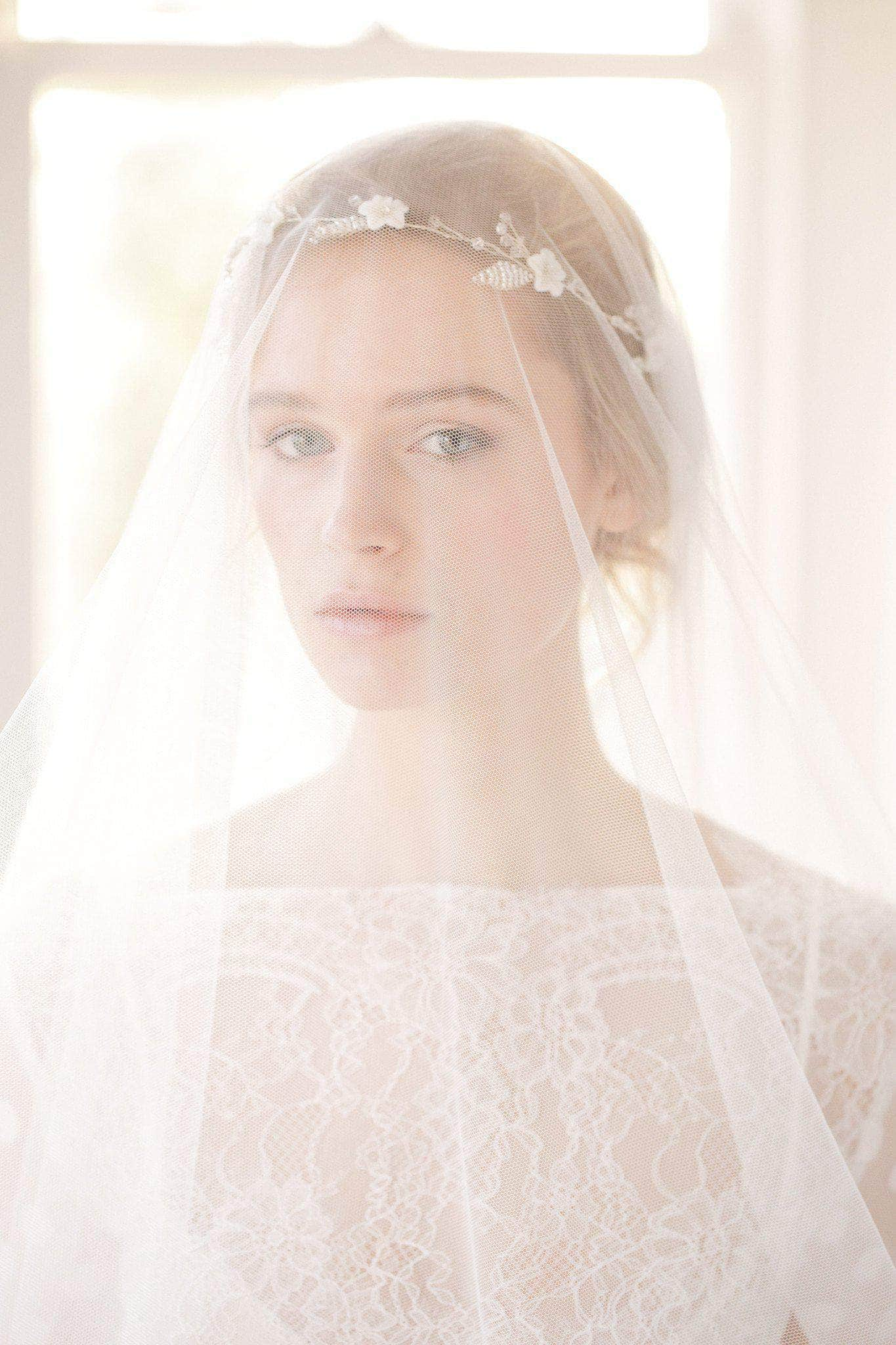 silk style drop wedding veil