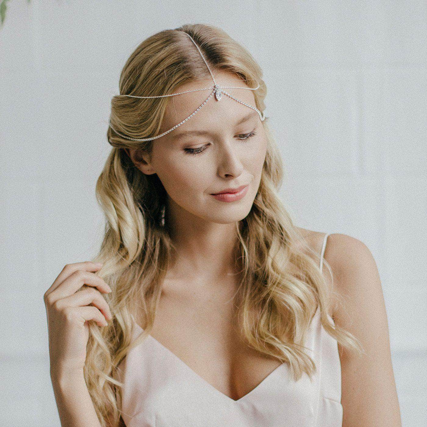 Crystal and chain bridal head chain- Esme | Britten Weddings