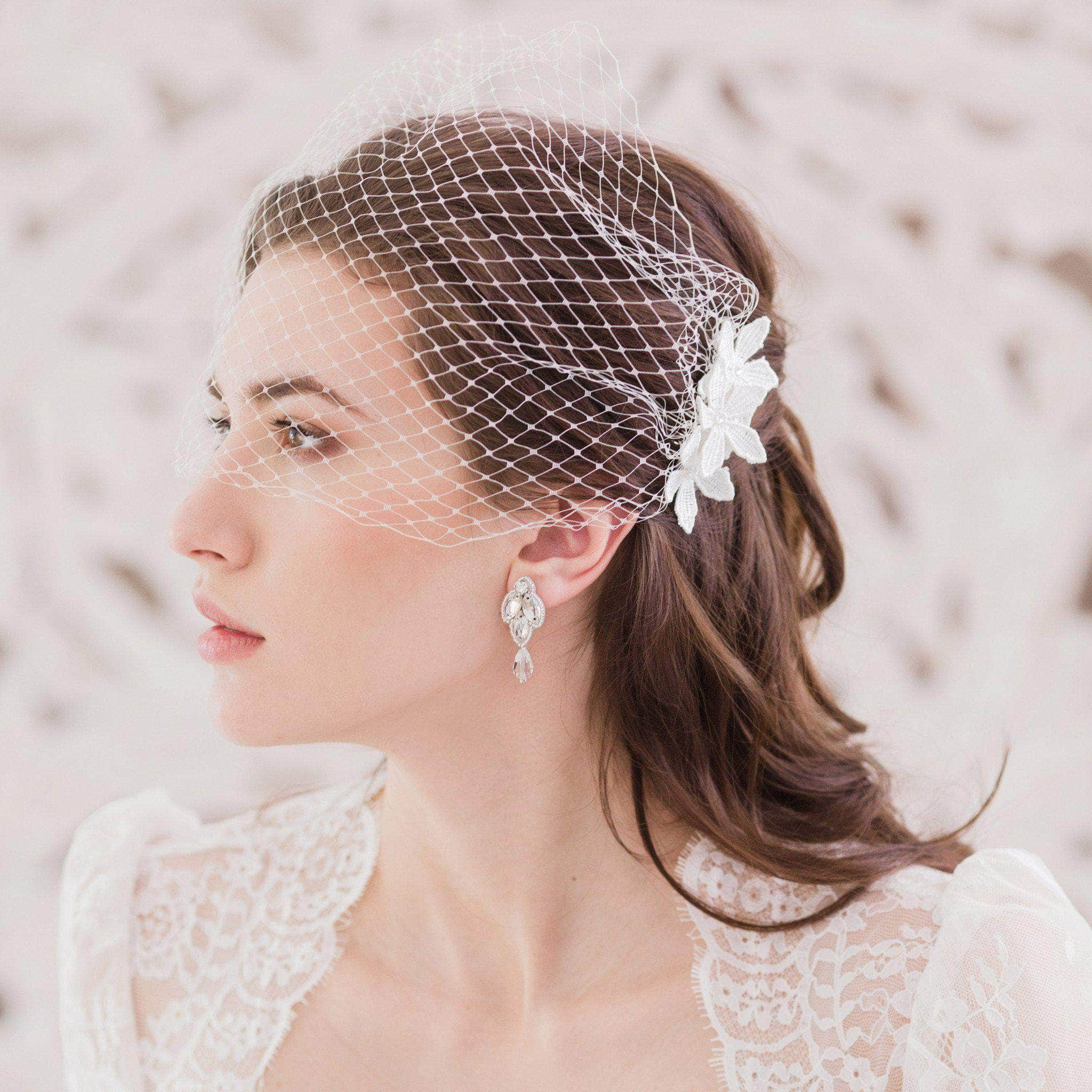 Embellished bandeau wedding veil of Russian net - 'Alexandrova'