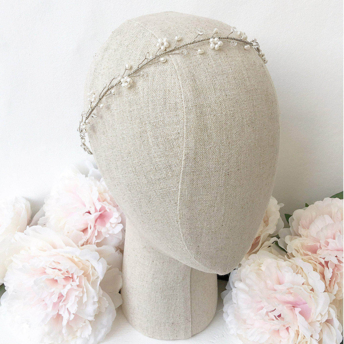 Wedding Hairvine Silver Silver wedding hair vine with pearls and crystals - 'Aria'