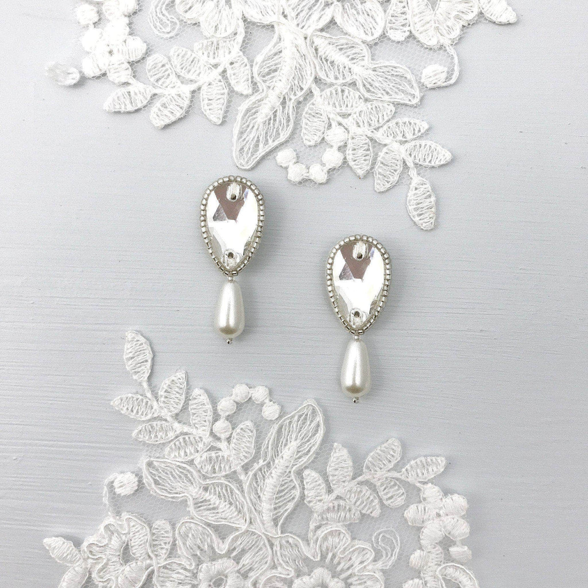 silver pearl wedding drop earrings