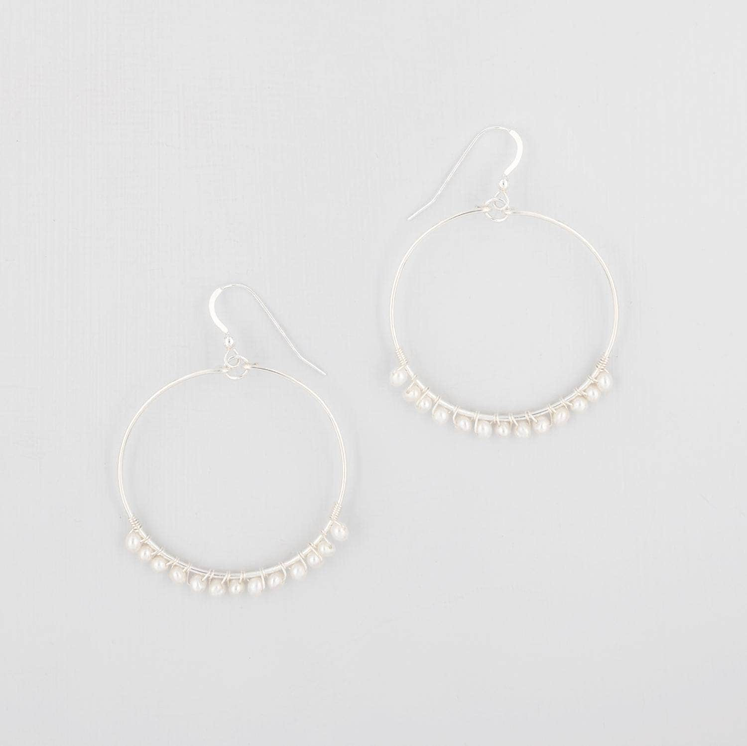 Wedding Earring 14k Gold Filled Freshwater Pearl Hoop Earrings - 'Lyla'