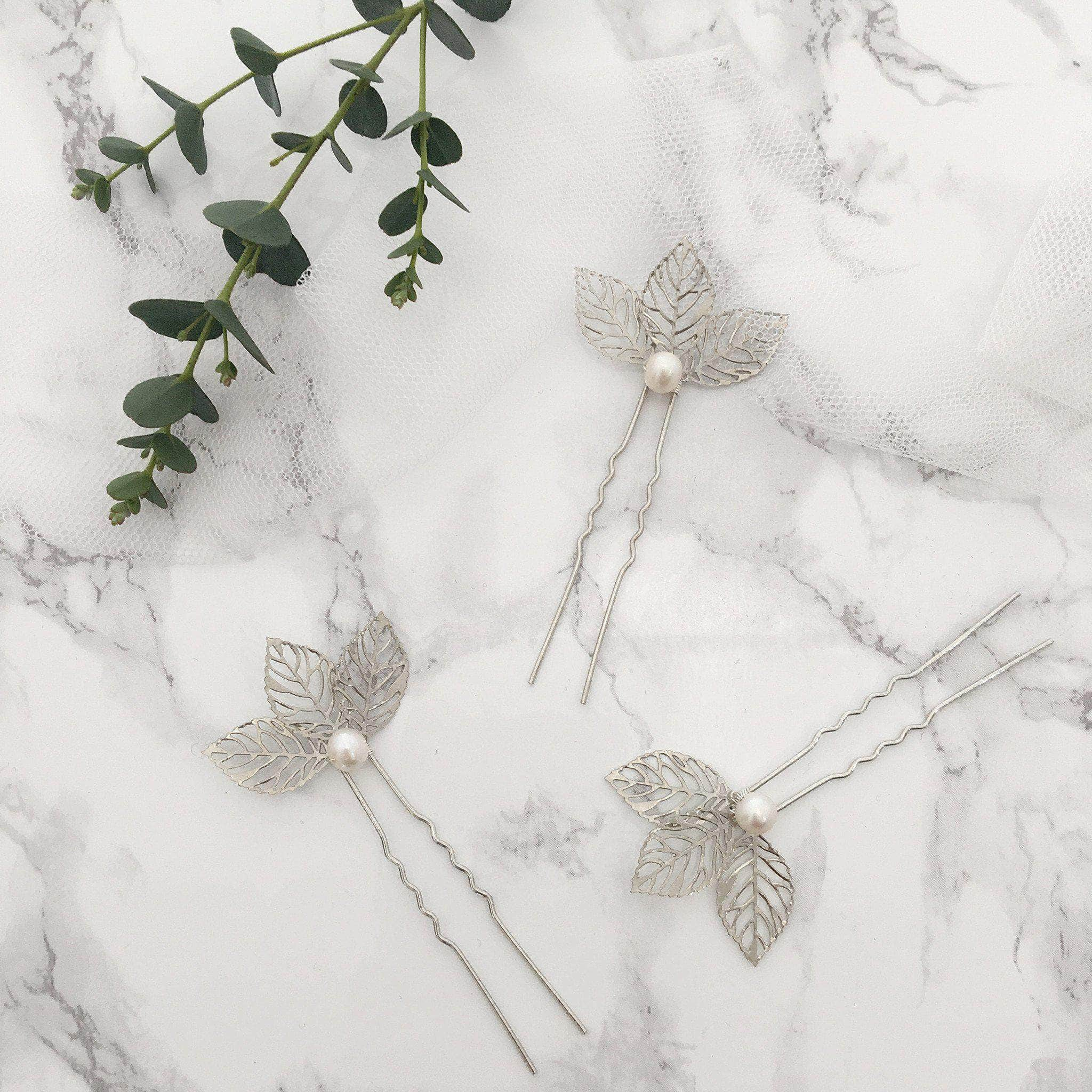 silver leaf wedding hair pins