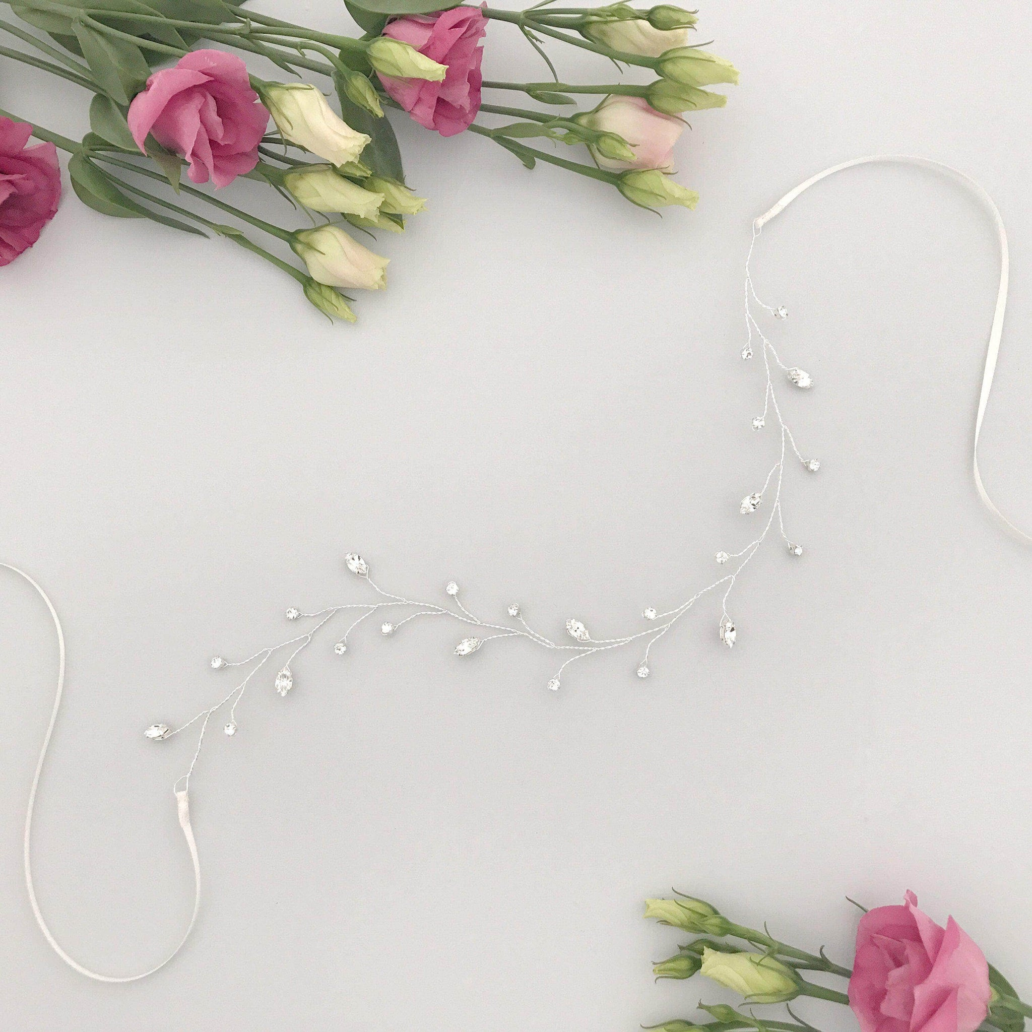 Flexible crystal wedding hair vine on silver plated wire- 'Lorna'
