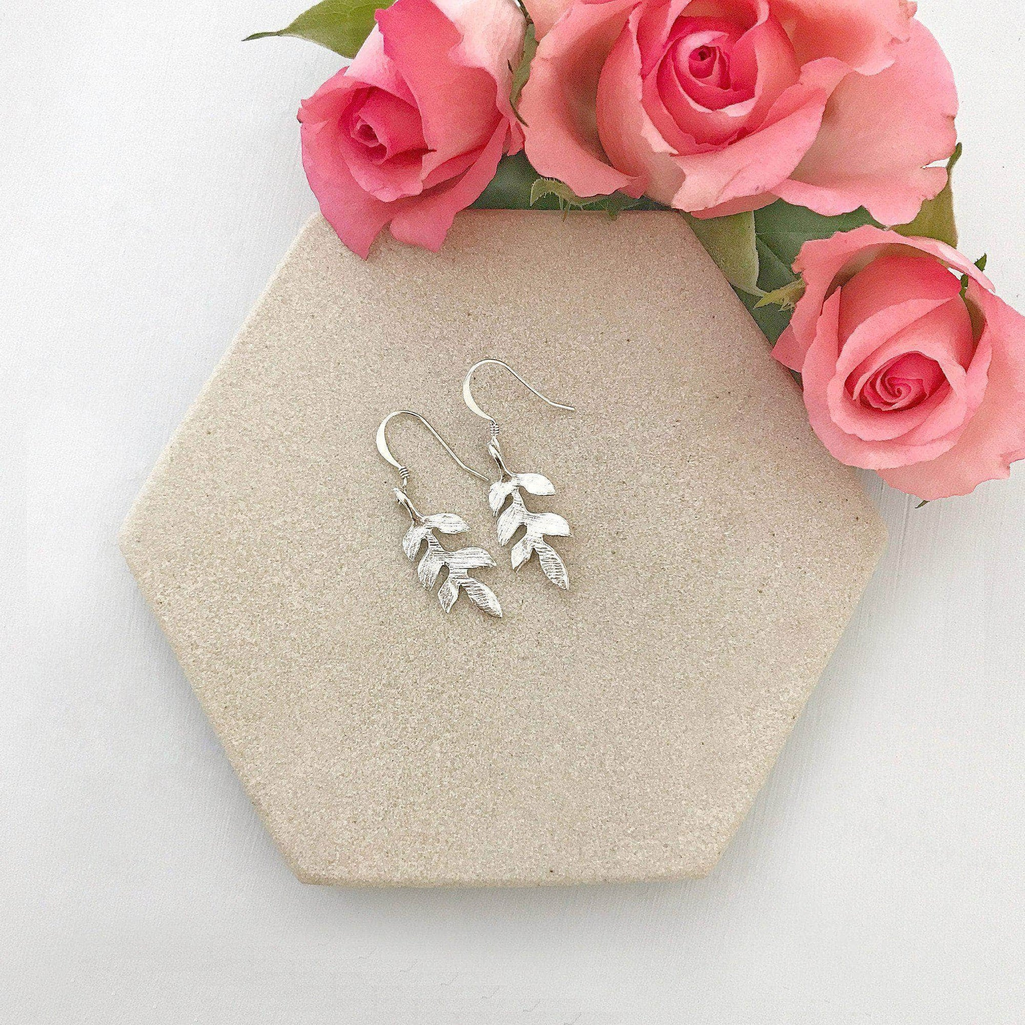Wedding Earring Silver Silver leaf earrings for wedding- 'Avani'