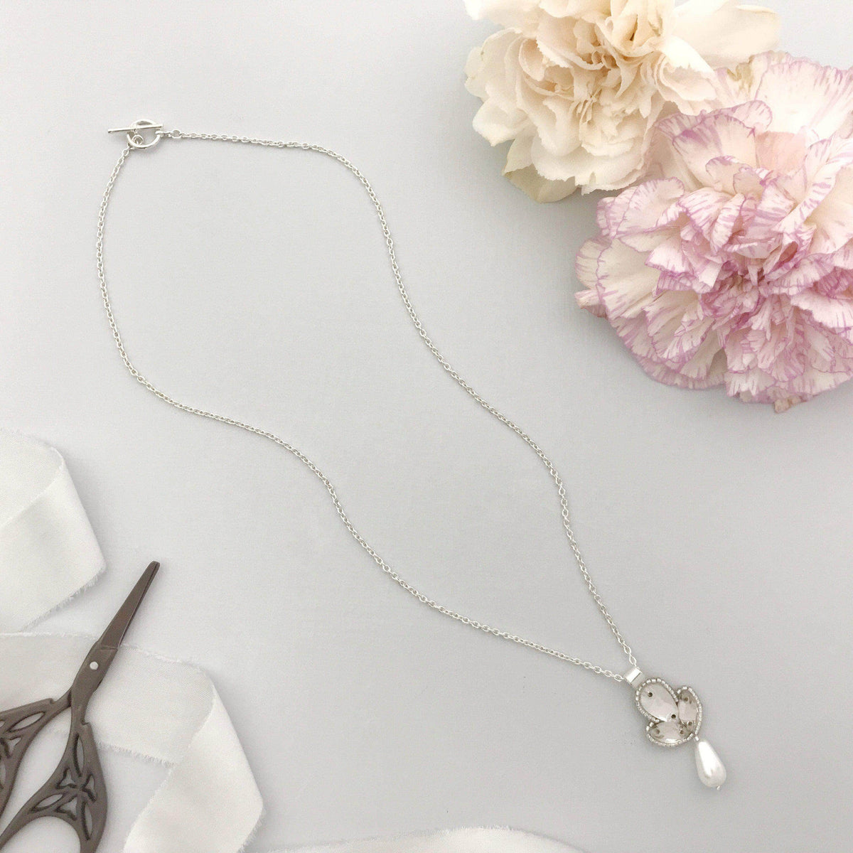 Wedding Necklace Silver Pearl drop wedding necklace - 'Bel'