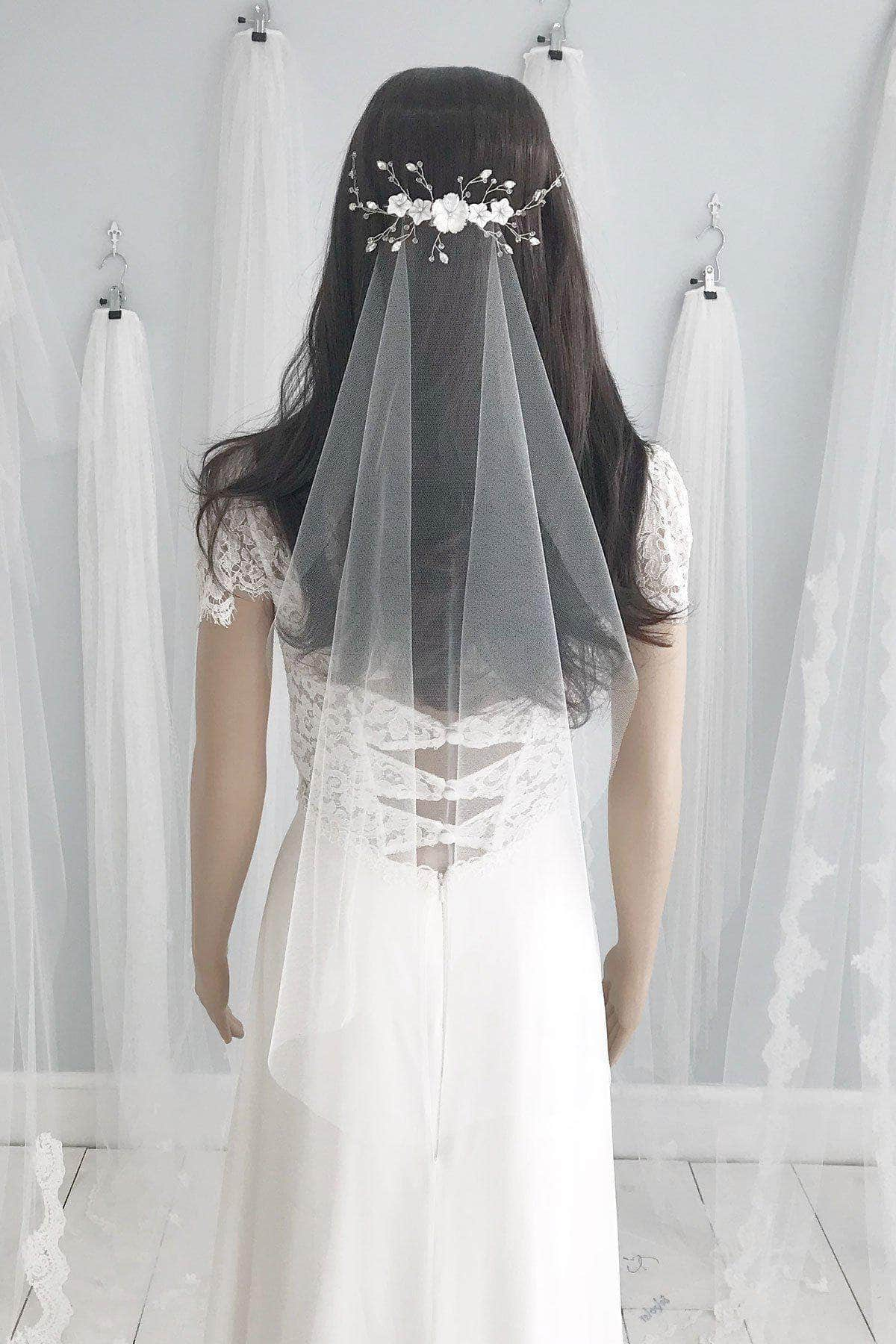 Wedding Veil Off-white (pictured) / Elbow / Silver Barely there wedding veil - 'Skylar'