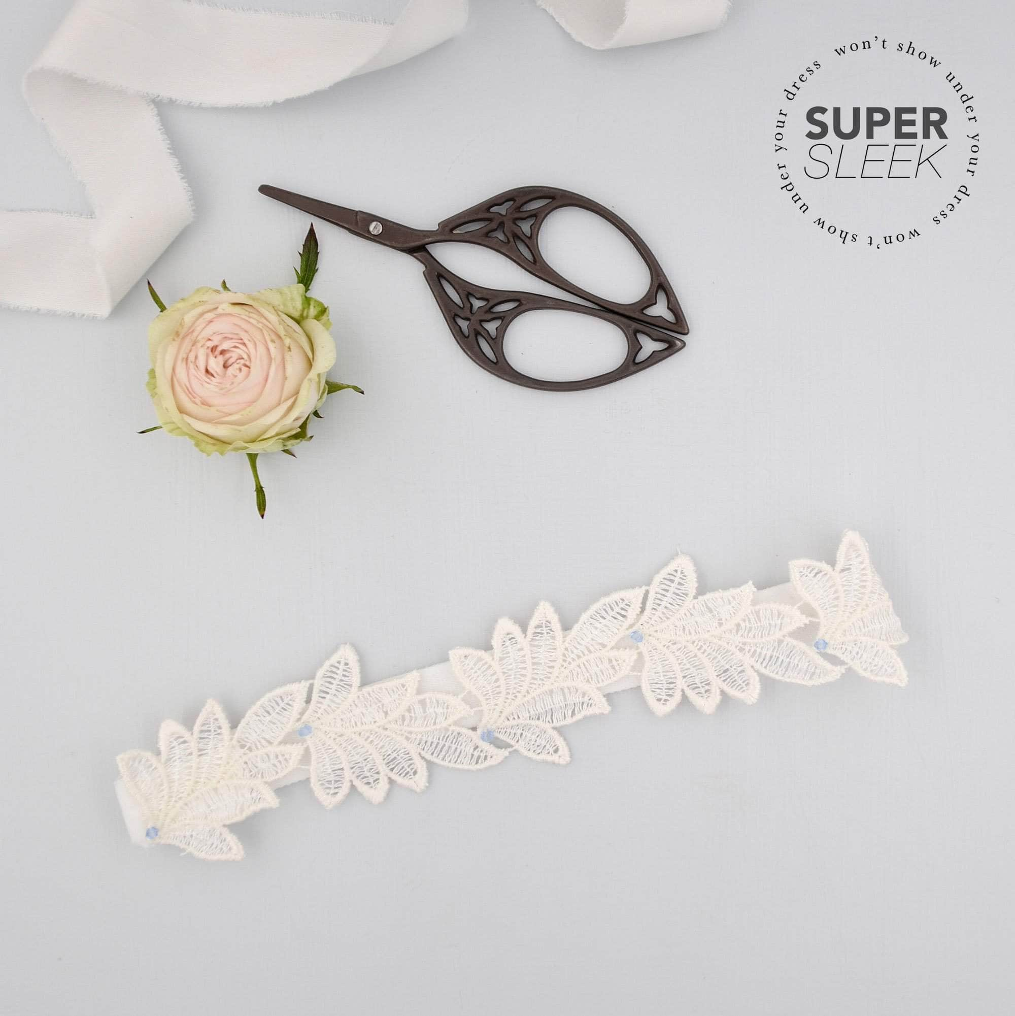 Super sleek lace leaf wedding garter with 'something blue' crystals - 'Elme'