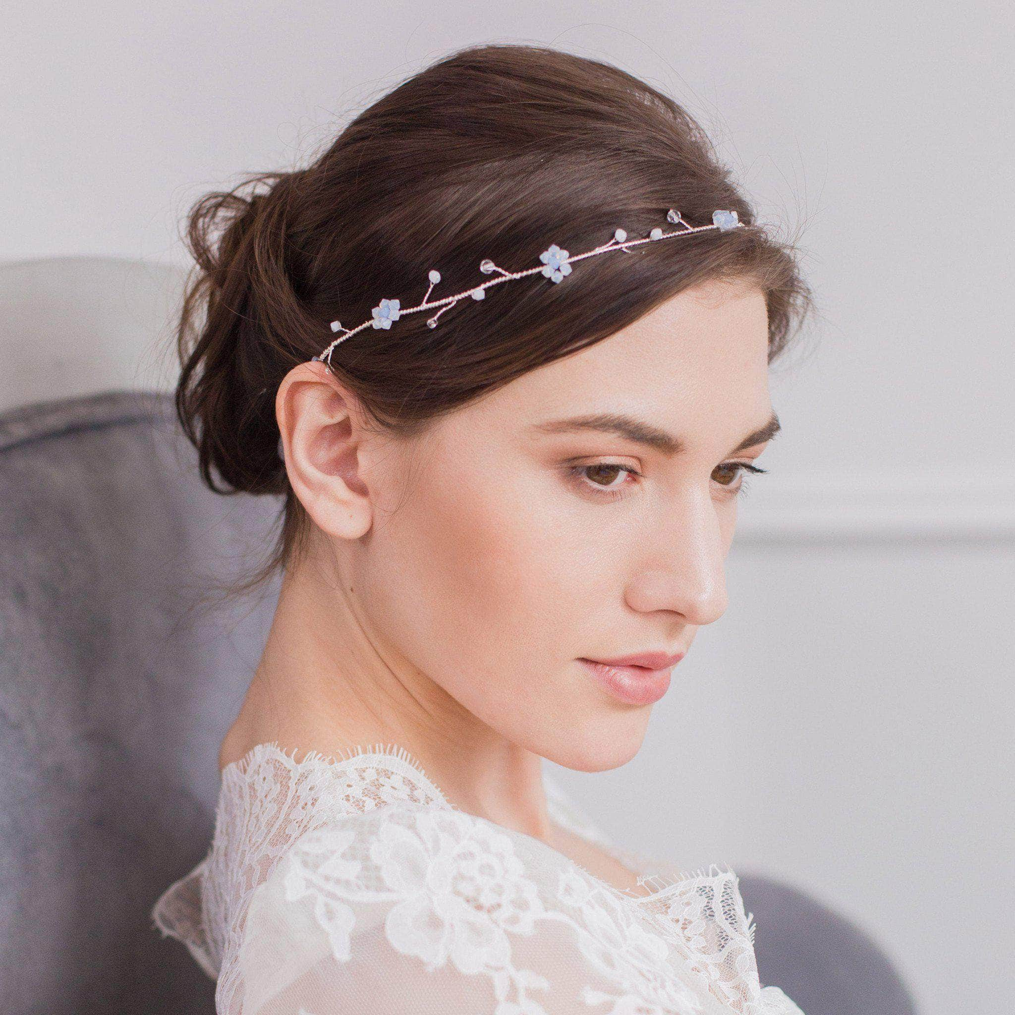 Blue opal and white opal floral wedding hair vine- 'June' | Britten Weddings