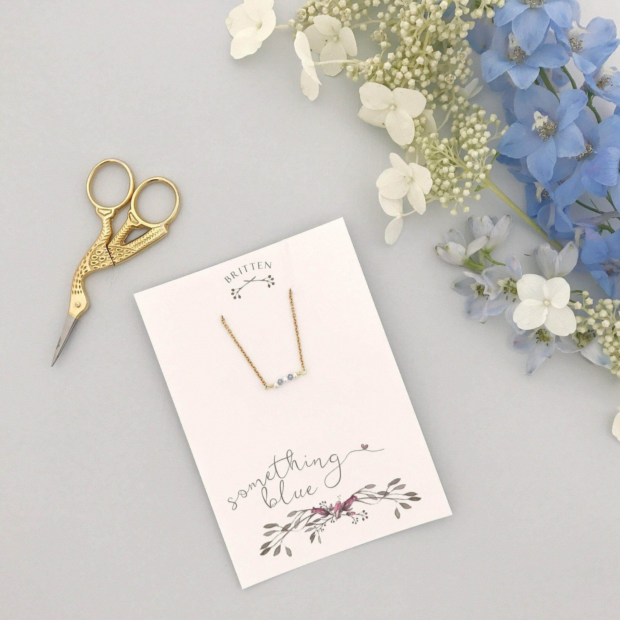 Wedding Necklace Gold 'Something blue' gift gold necklace - 'Mollie'