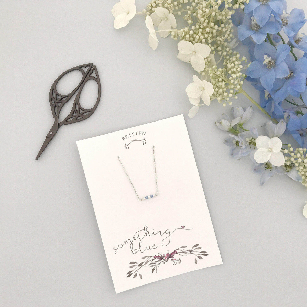 Wedding Necklace Silver 'Something blue' gift silver necklace - 'Mollie'