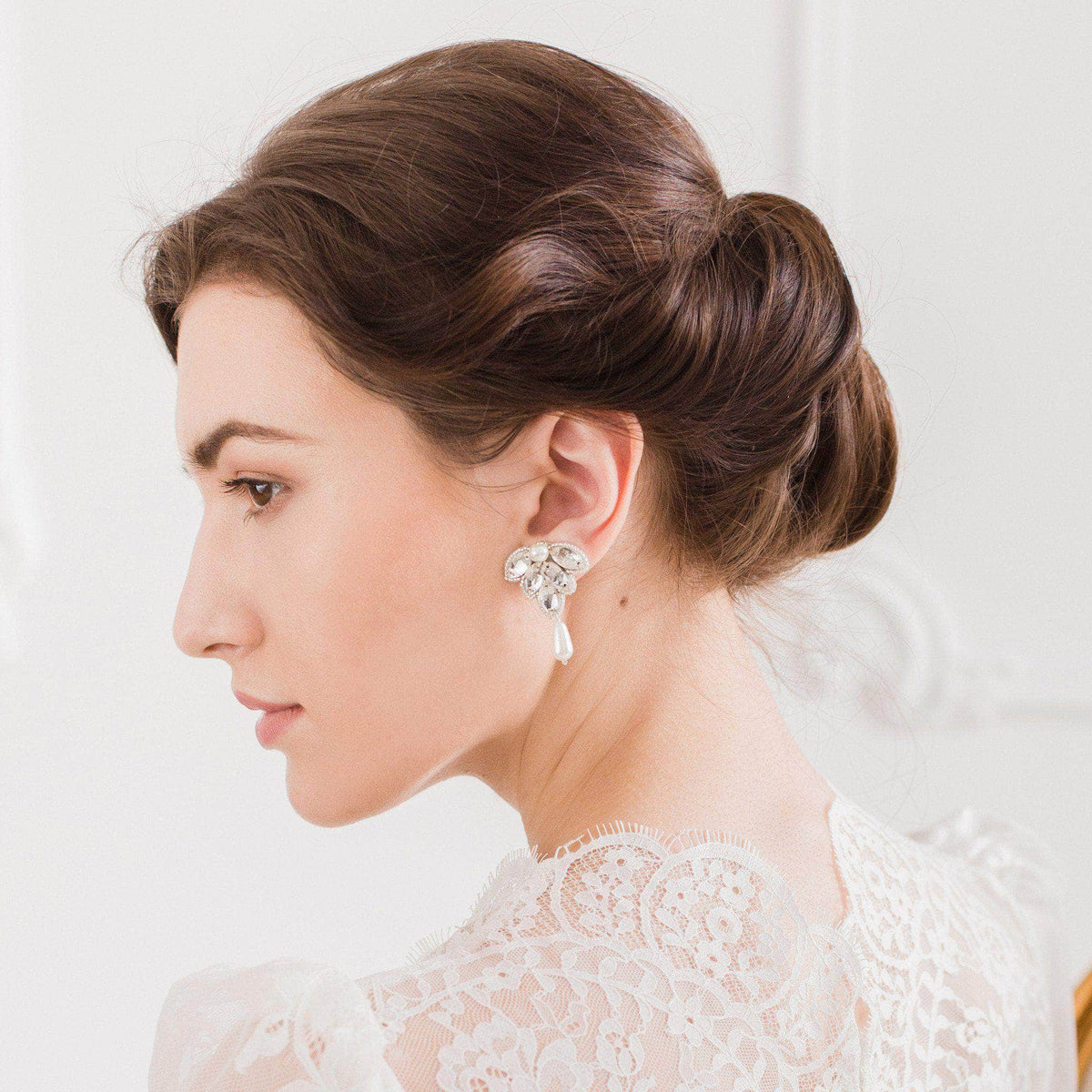 Wedding Earring Gold Crystal wedding earrings gold and pearl - 'Florence'