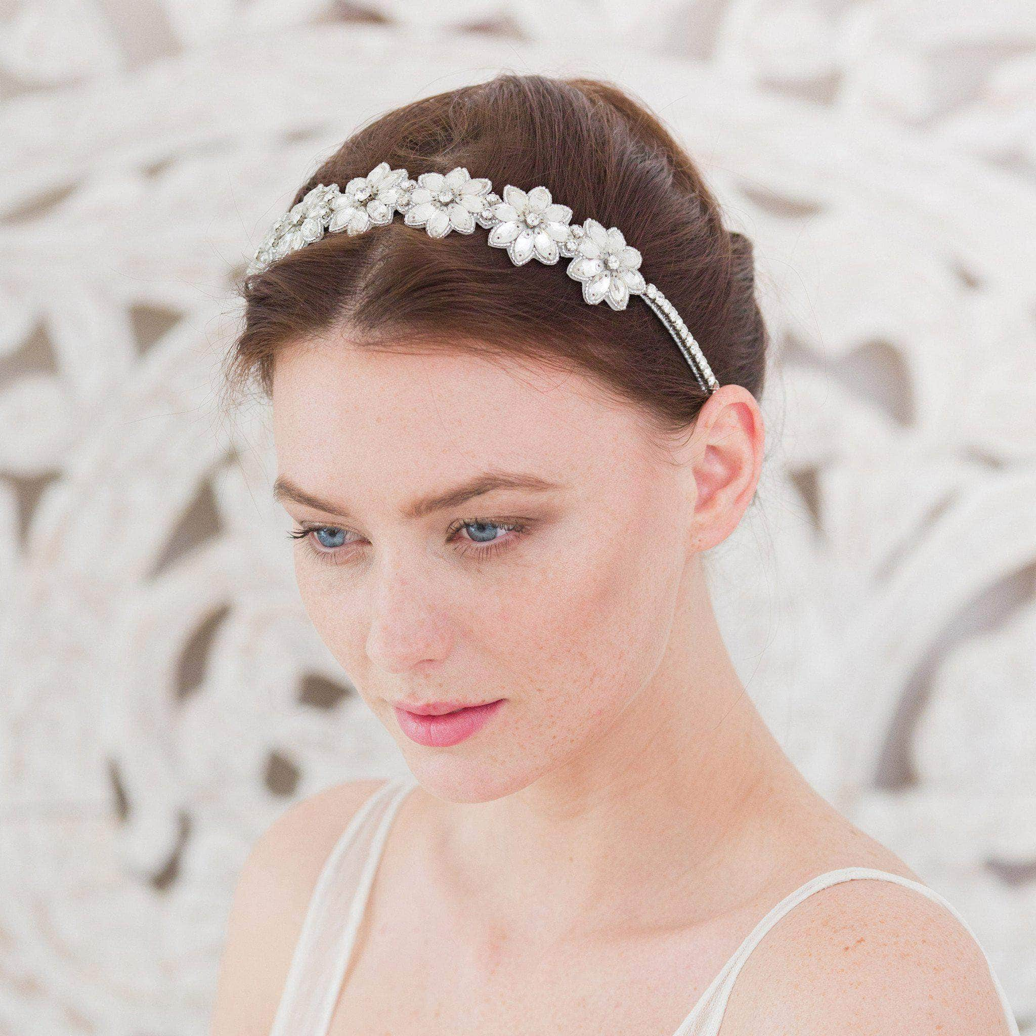 Crystal flower wedding headband