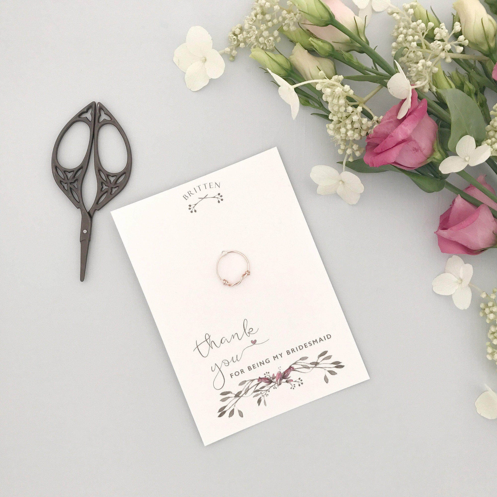 Bridesmaid Gift Rose gold Bridesmaid 'thank you' gift ring - 'Afia' in rose gold