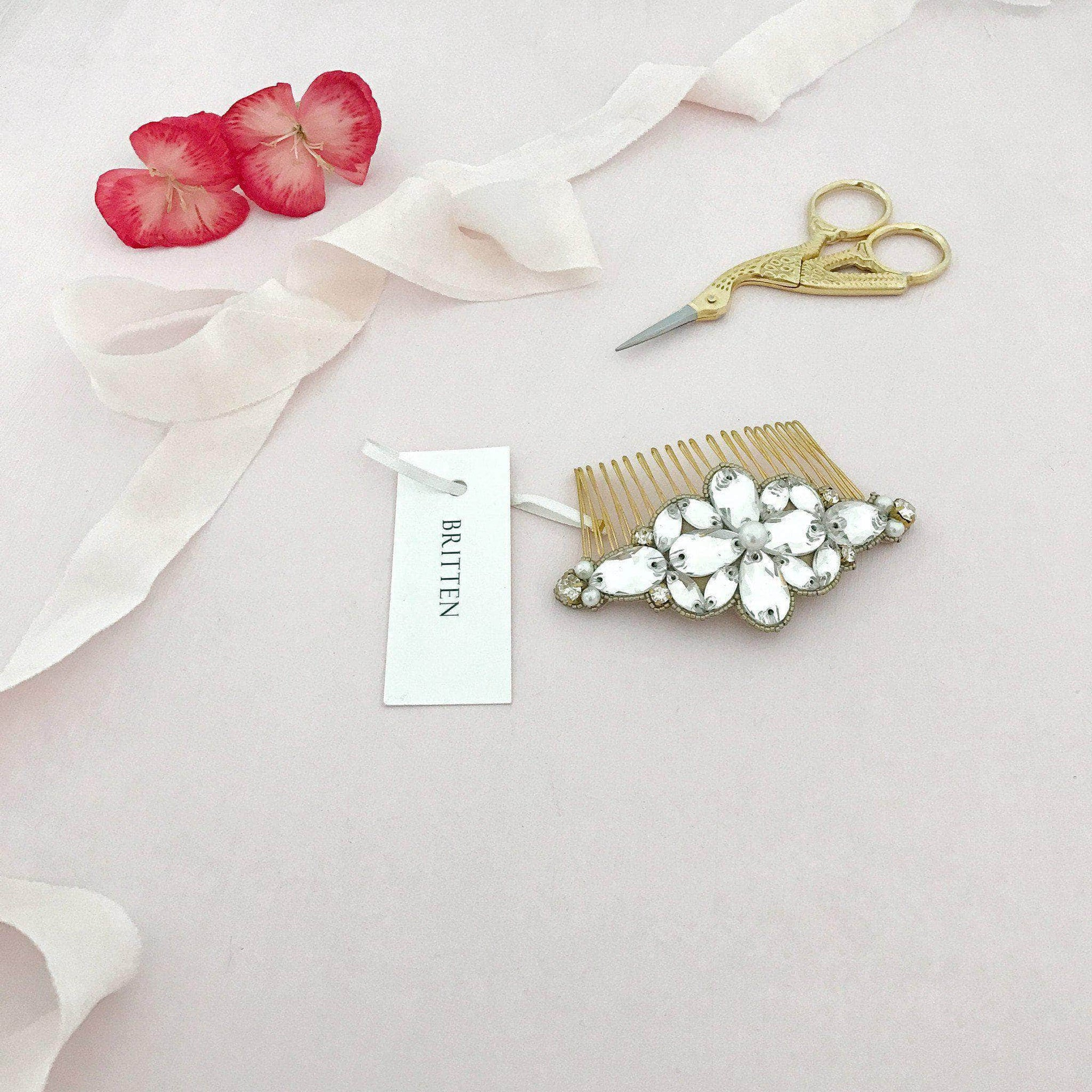 Wedding Haircomb Gold Gold crystal and pearl wedding hair comb - 'Tulla'