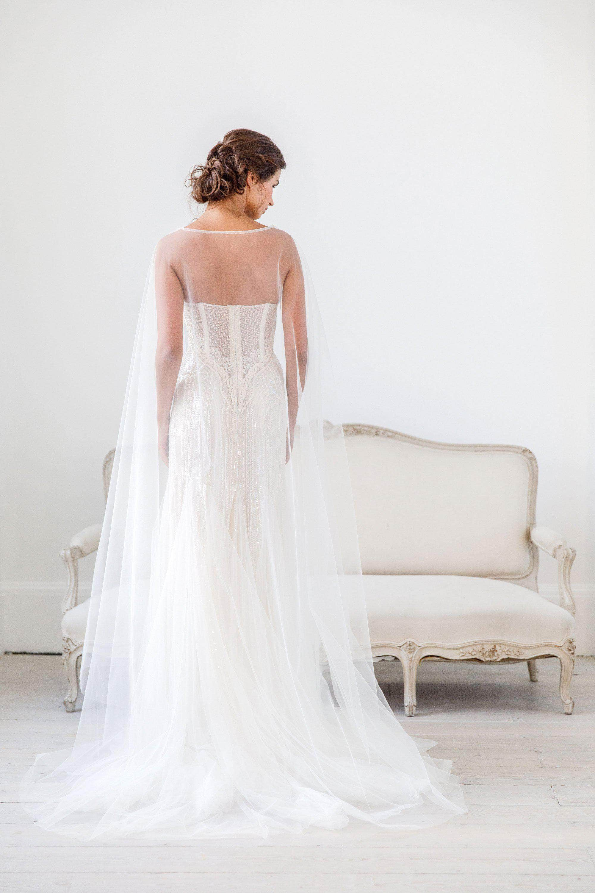 Wedding Veil Tulle wedding cape veil - 'Imogen'