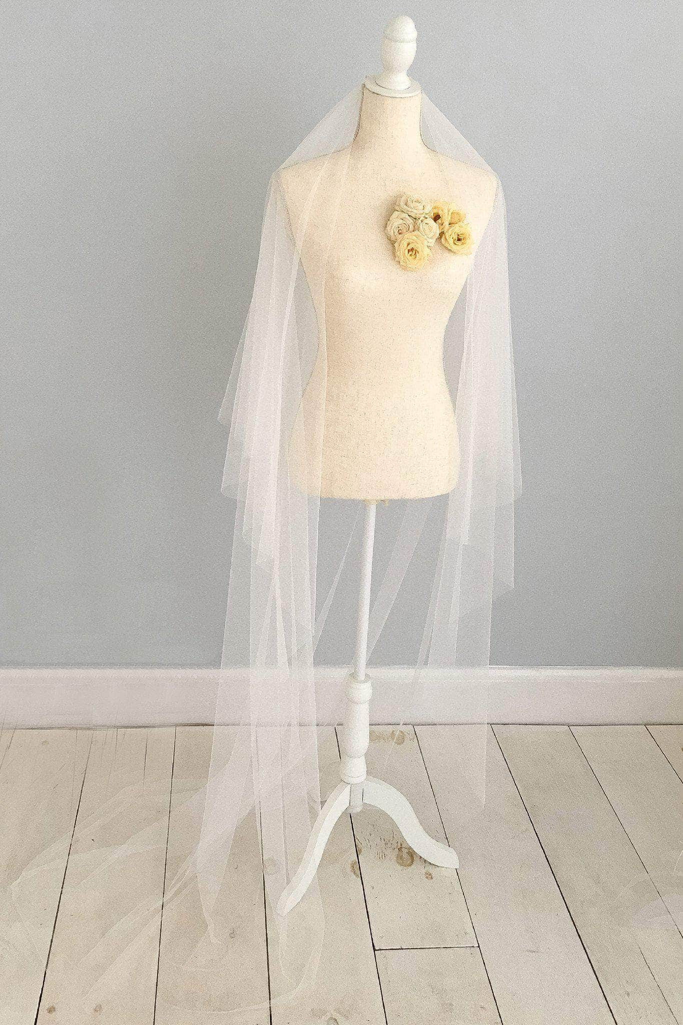 Wedding Veil Two tier cut edge silk style wedding veil - 'Ella'