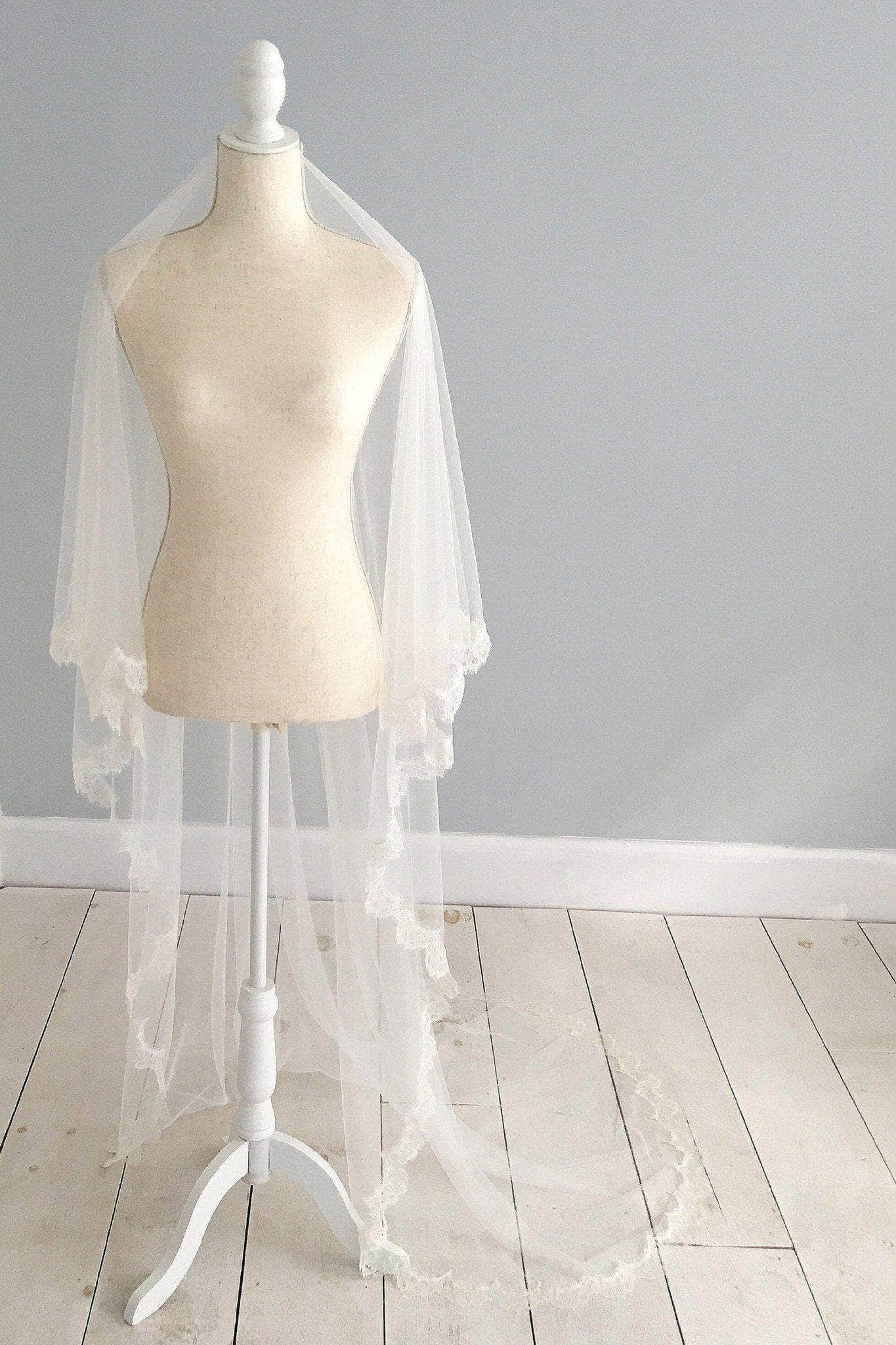 Wedding Veil Two tier silk style wedding veil with french eyelash lace trim- 'Misa'