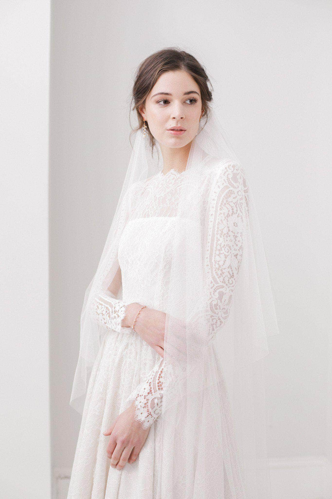 Two tier silk style wedding veil deliciously ella
