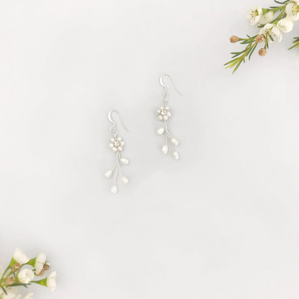 Wedding Earring Clear Vine wedding earrings - 'Eliza'